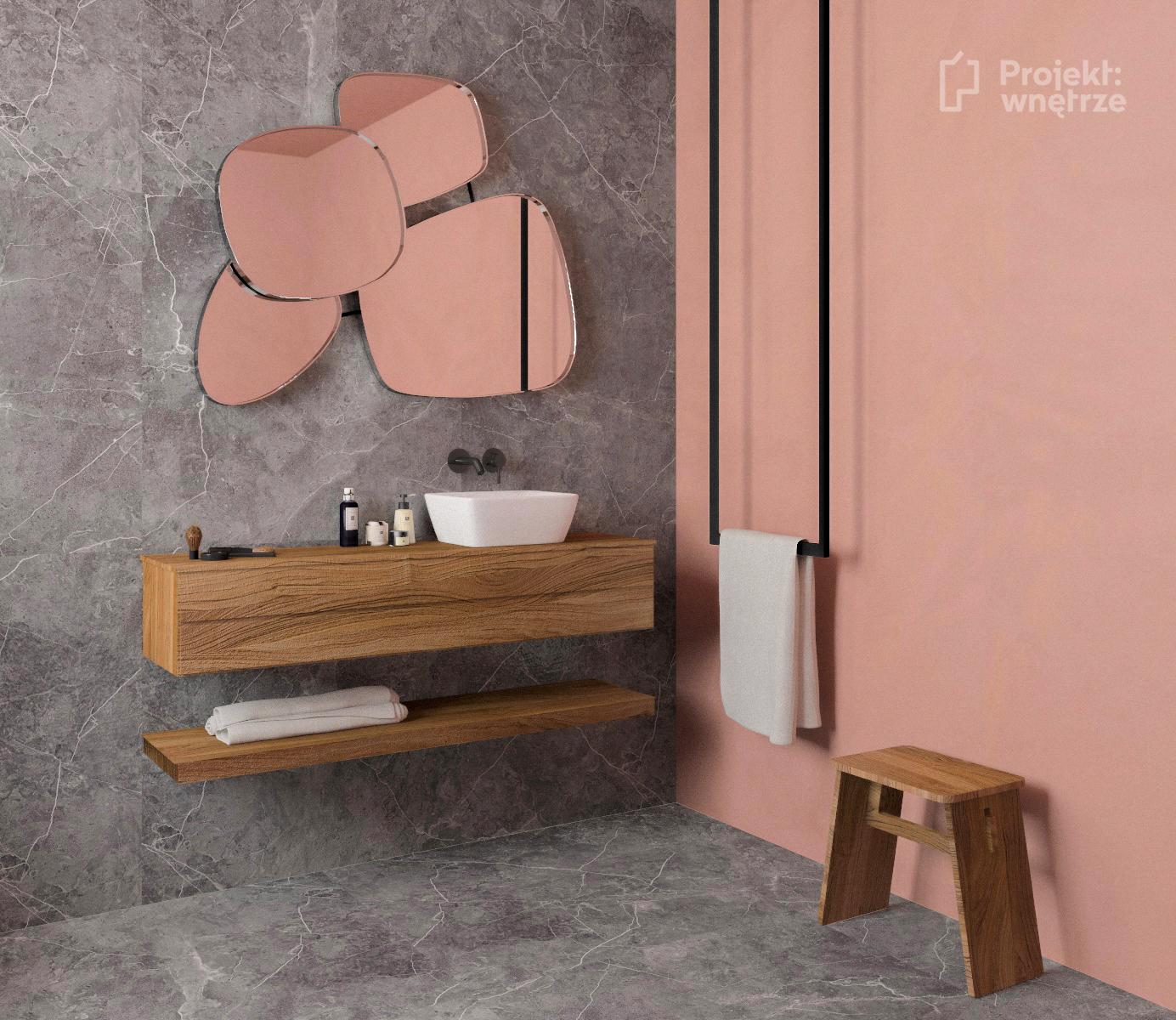 Łazienka róż szarość - projekt łazienki w kolorze różu z szarymi płytkami i drewnem - Projekt wnętrze - www.projektwnetrze.com.pl projektowanie wnętrz online