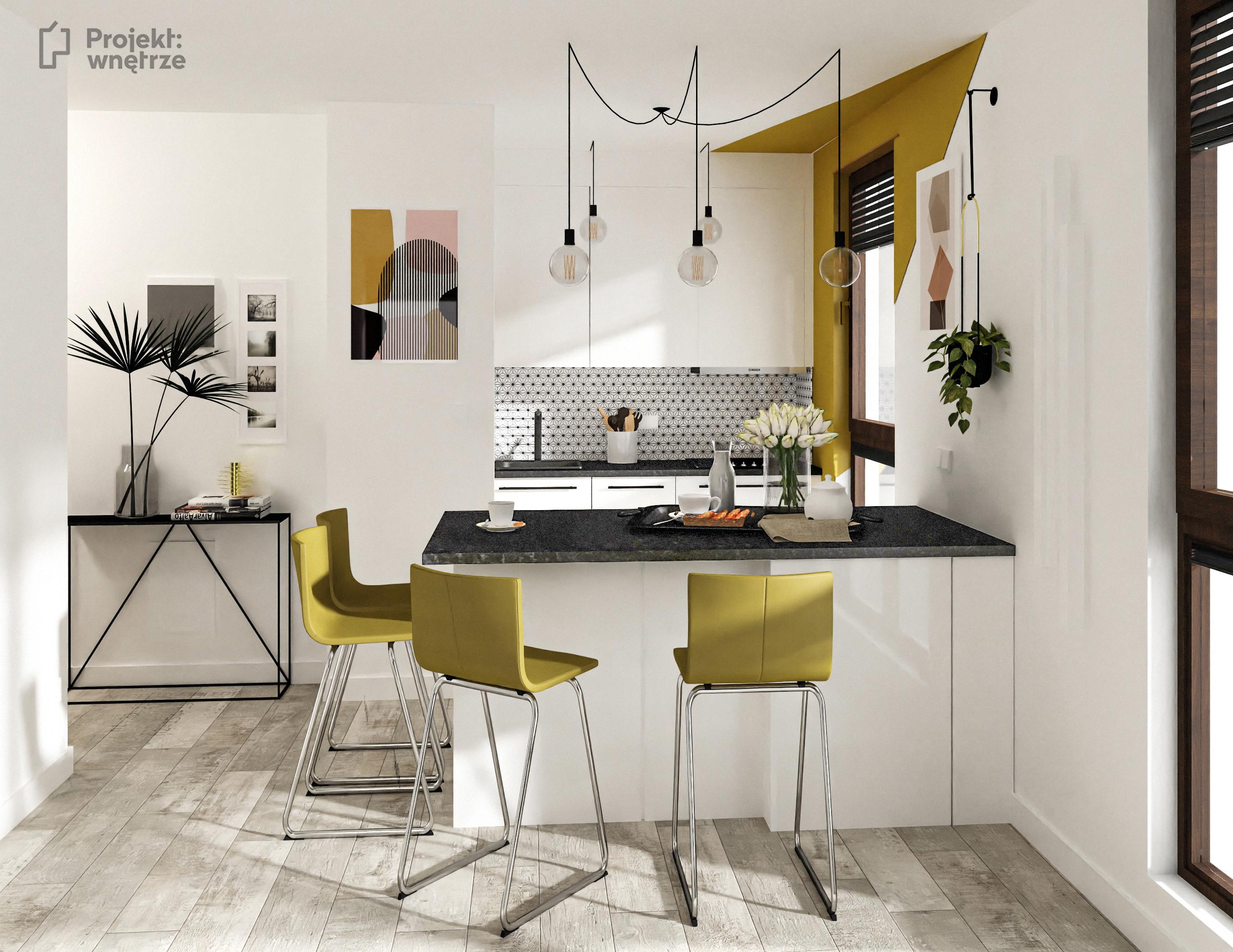 Nowoczesne mieszkanie z kolorem - biel czerń żółty musztardowy - PROJEKT: WNĘTRZE projektowanie wnętrz Warszawa okolice online www.projektwnetrze.com.pl