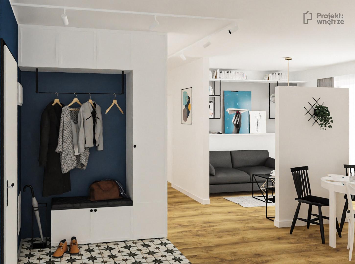 Projekt wnętrze projekt mieszkania nowoczesne 50m Warszawa szarość biel drewno niebieski - projektant wnętrz Warszawa www.projektwnetrze.com.pl