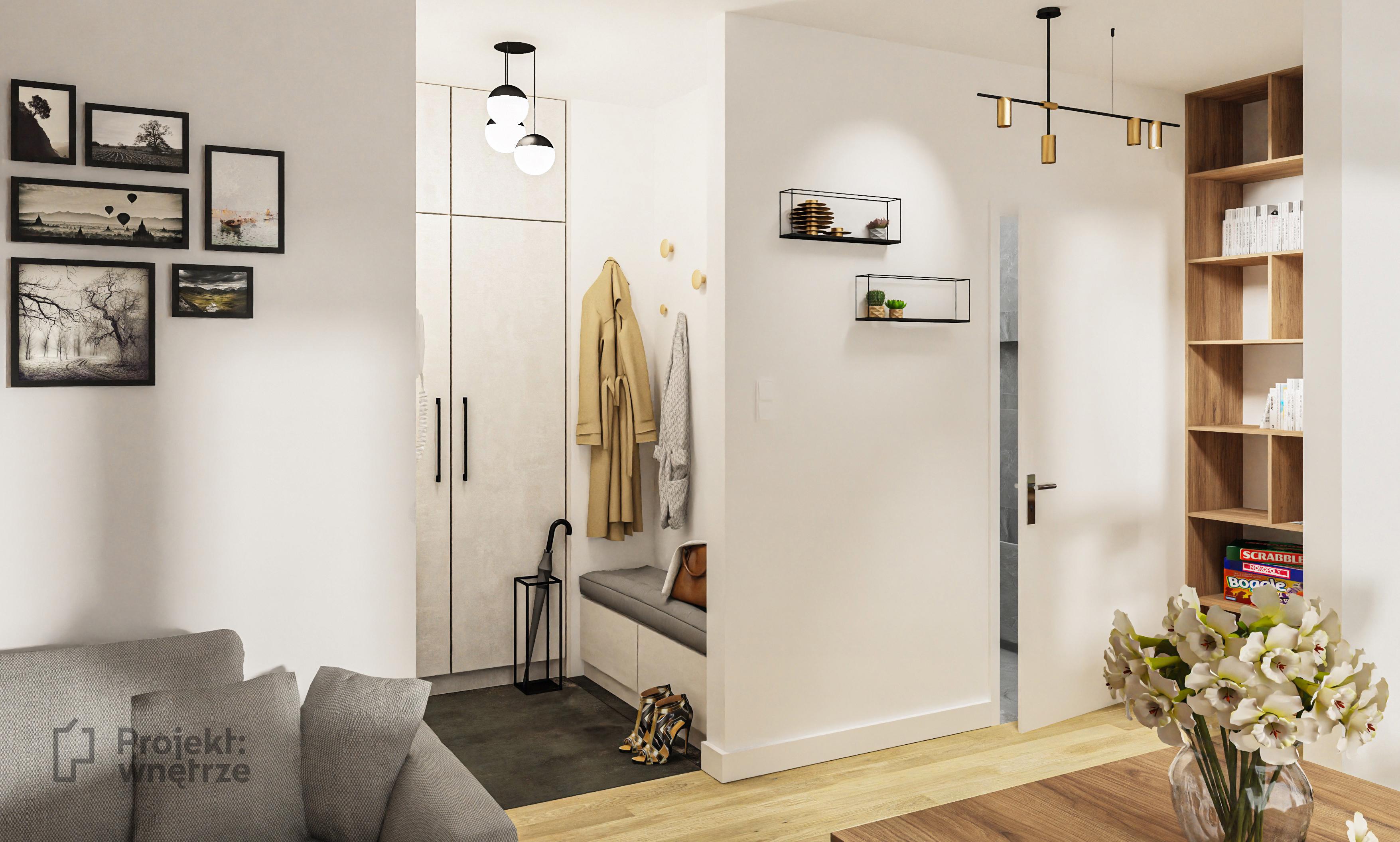 Mieszkanie soft loft - korytarz lustro loft ze szprosami - projekt mieszkania Projekt: wnętrze www.projektwnetrze.com.pl