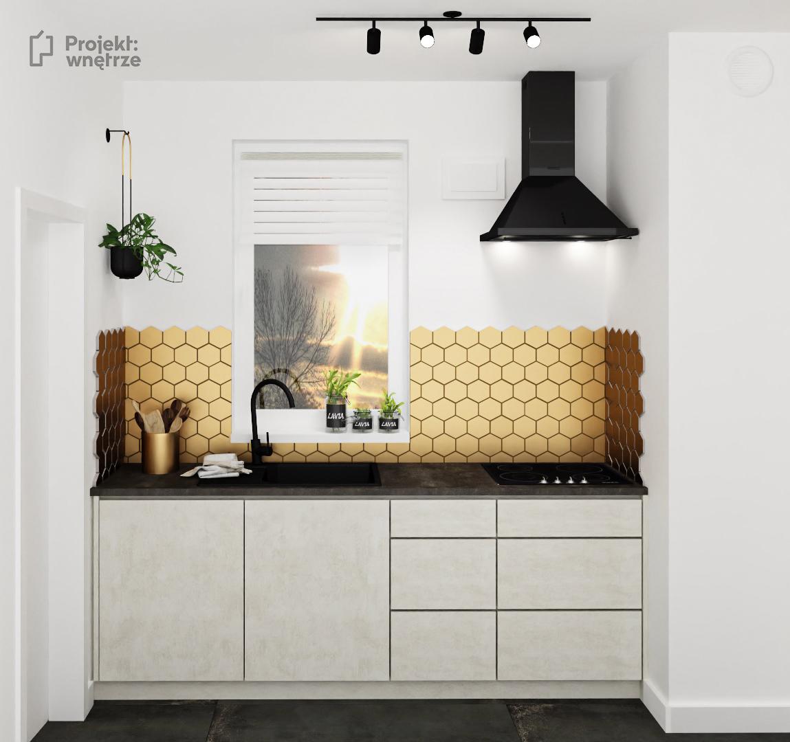 KUCHNIA w stylu loft złote heksagony meble beton czarne akcenty ciemny blat - projekt kuchni PROJEKT WNĘTRZE www.projektwnetrze.com.pl
