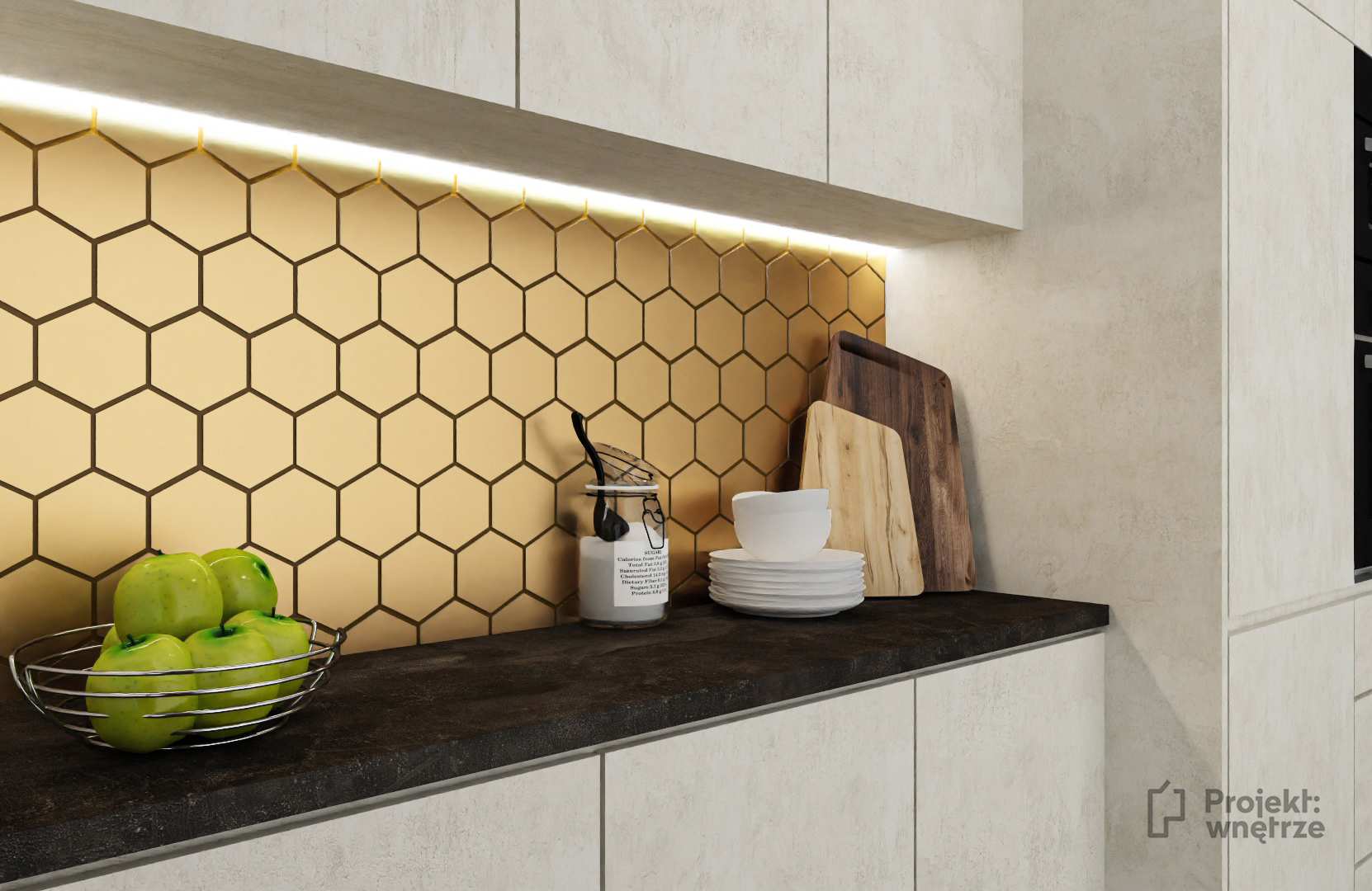złote płytki heksagon w kuchni meble imitacja betonu czarny blat podłoga - projekt kuchni loft - PROJEKT WNĘTRZE www.projektwnetrze.com.pl