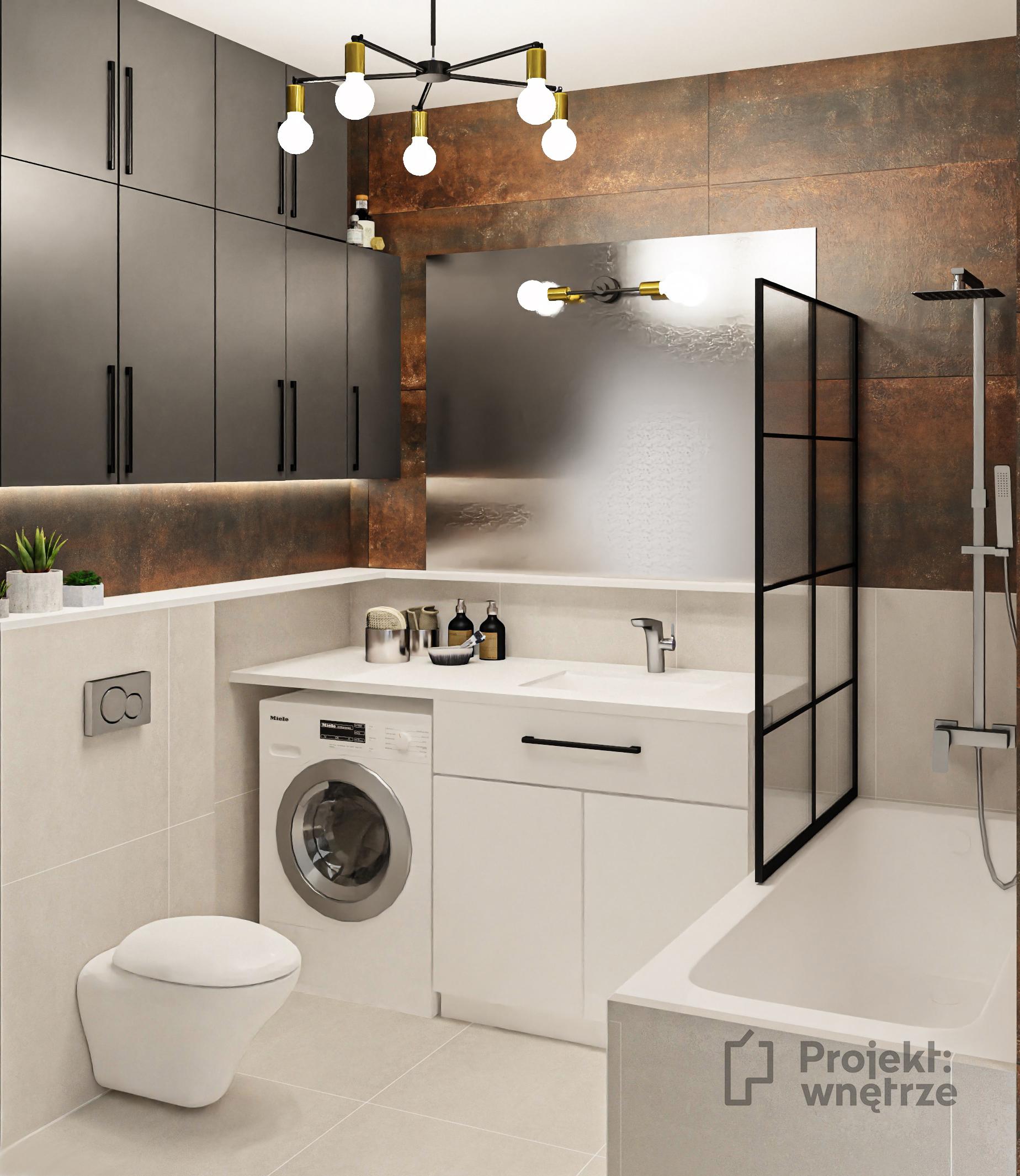 Łazienka loft - projekt łazienki w stylu loftowym, płytki miedziane i białe, szara i biała zabudowa, lampy Nowodvorski, parawan prysznicowy czarny - Projektowanie wnętrz PROJEKT WNĘTRZE www.projektwnetrze.com.pl