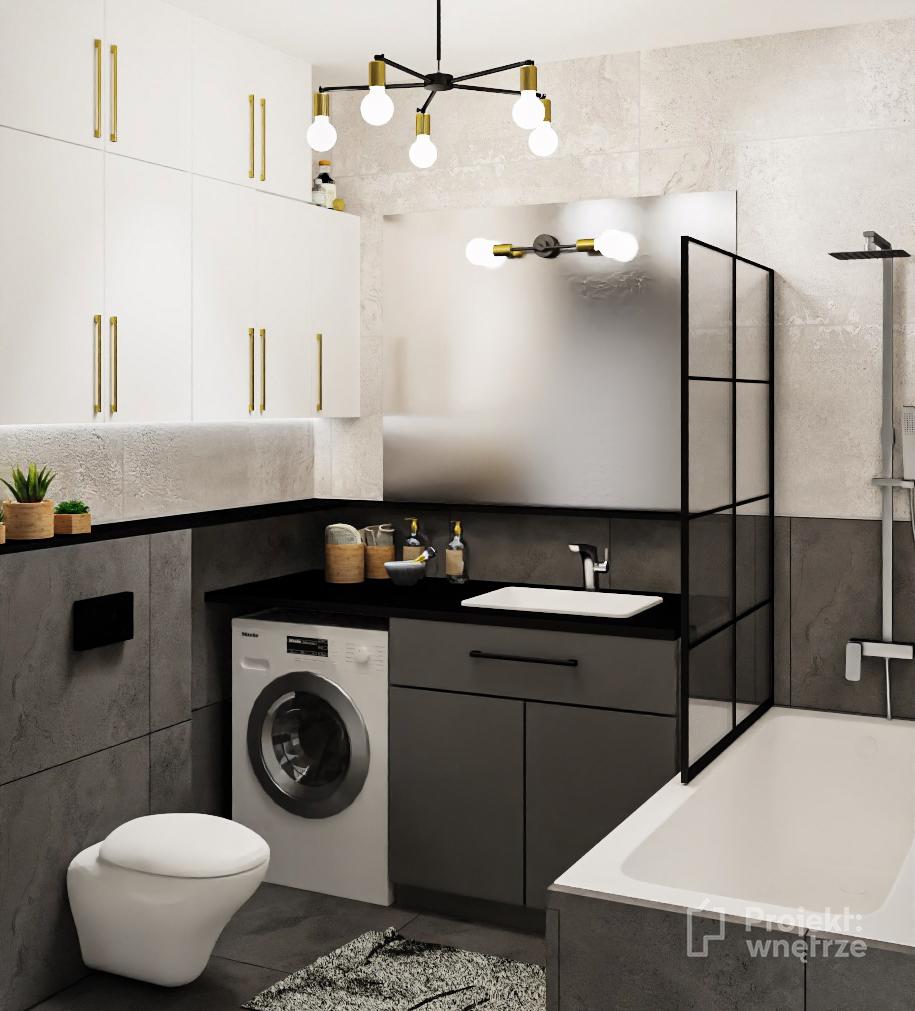 Projekt łazienki w stylu loft boeton szare płytki złote akcenty lampy Nowodvorski, parawan prysznicowy czarny - Projektowanie wnętrz PROJEKT WNĘTRZE www.projektwnetrze.com.pl