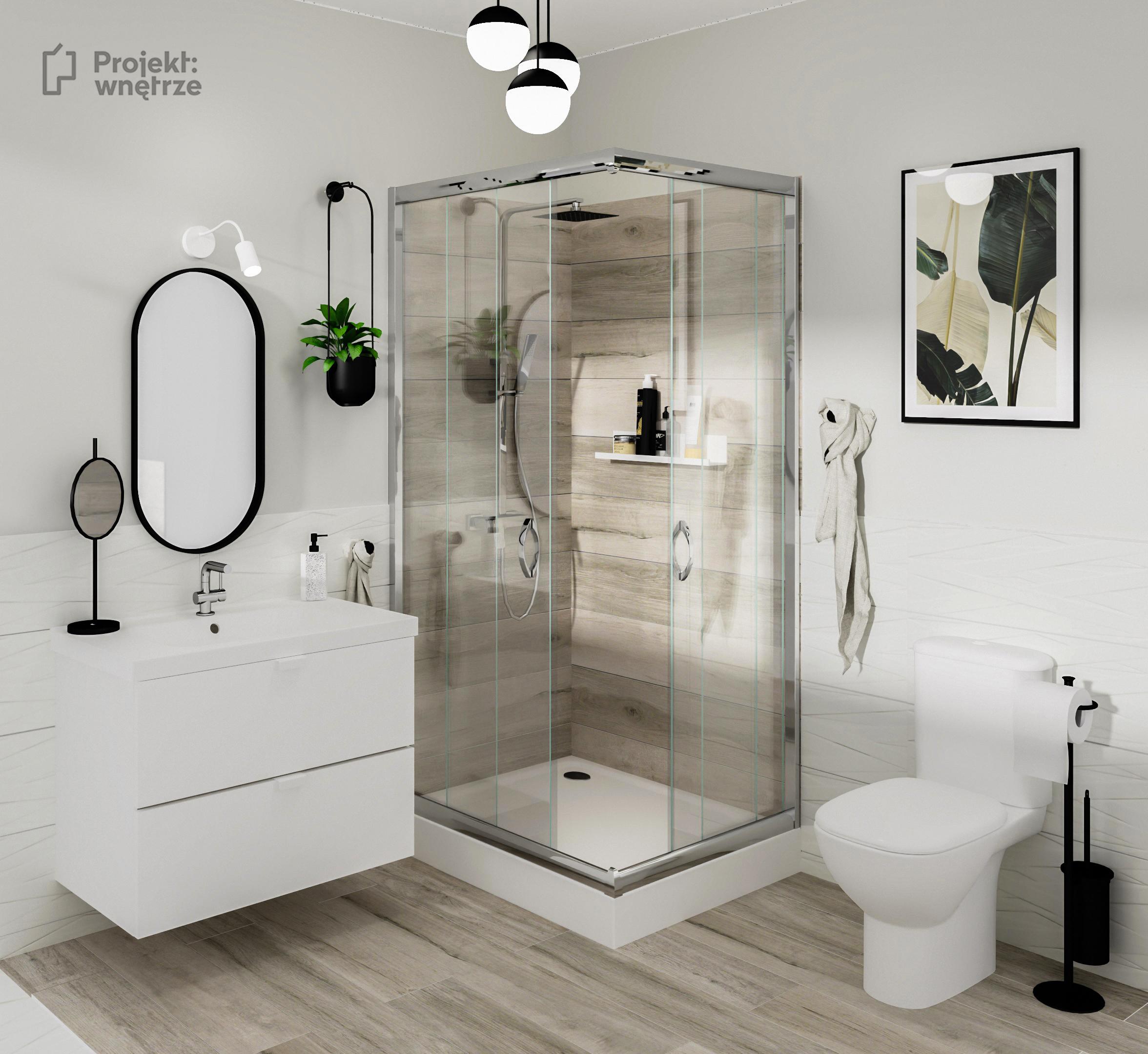 Projekt wnętrze - projekt łazienki drewno i biel z czarnymi akcentami i szafką łazienkową IKEA Godmorgon biała