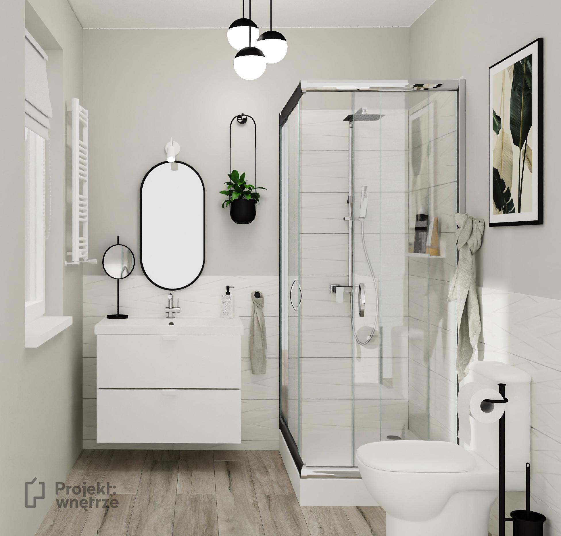 Projekt łazienki drewno i biel z czarnym lustrem i szafką łazienkową IKEA Godmorgon biała