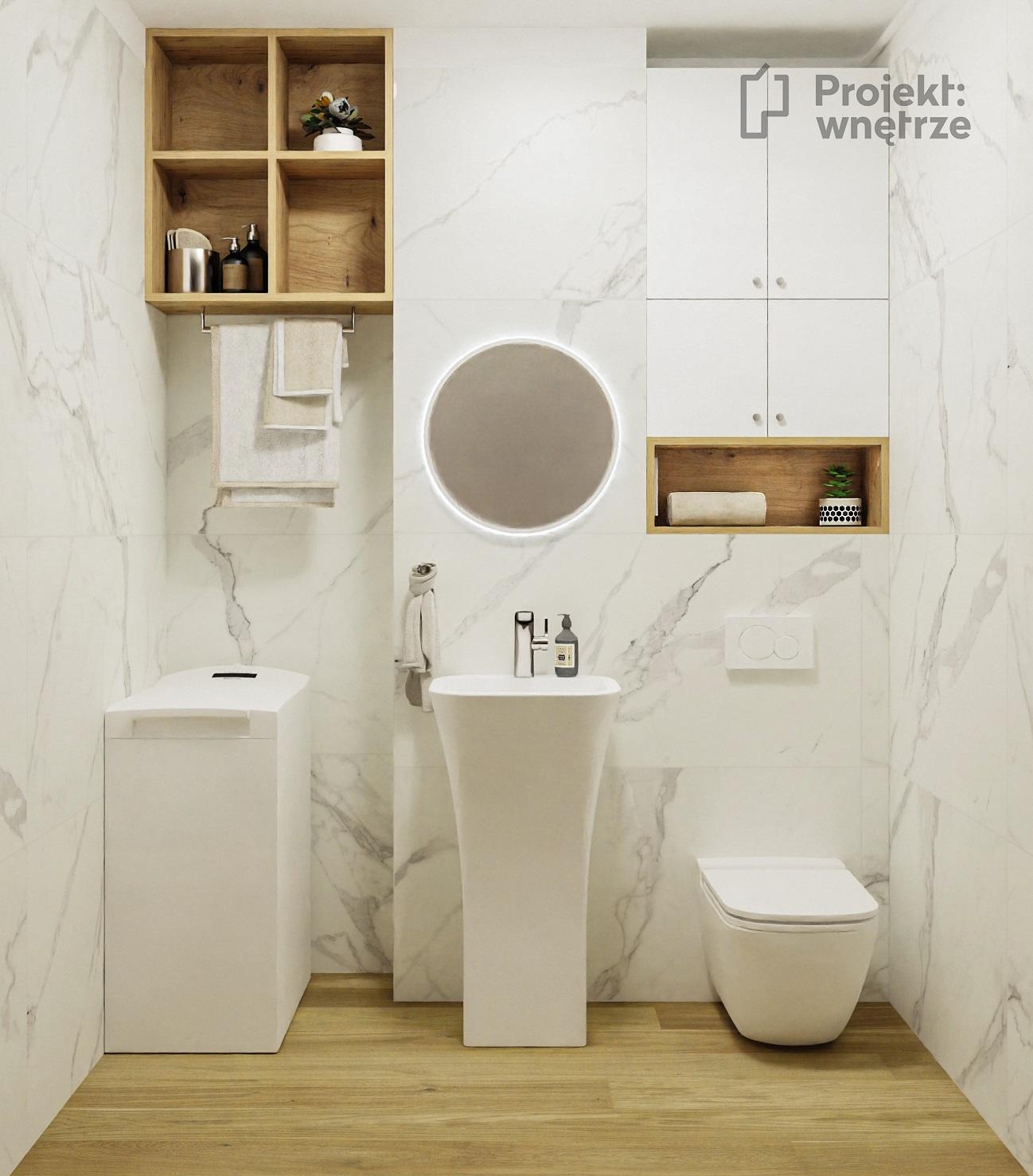 Mała łazienka marmur calcatta Tubądzin Pietrasanta drewno umywalka REA WC Koło- Projekt wnętrze projekt małego mieszkania - projektowanie wnętrz warszawa online - www.projektwnetrze.com.pl