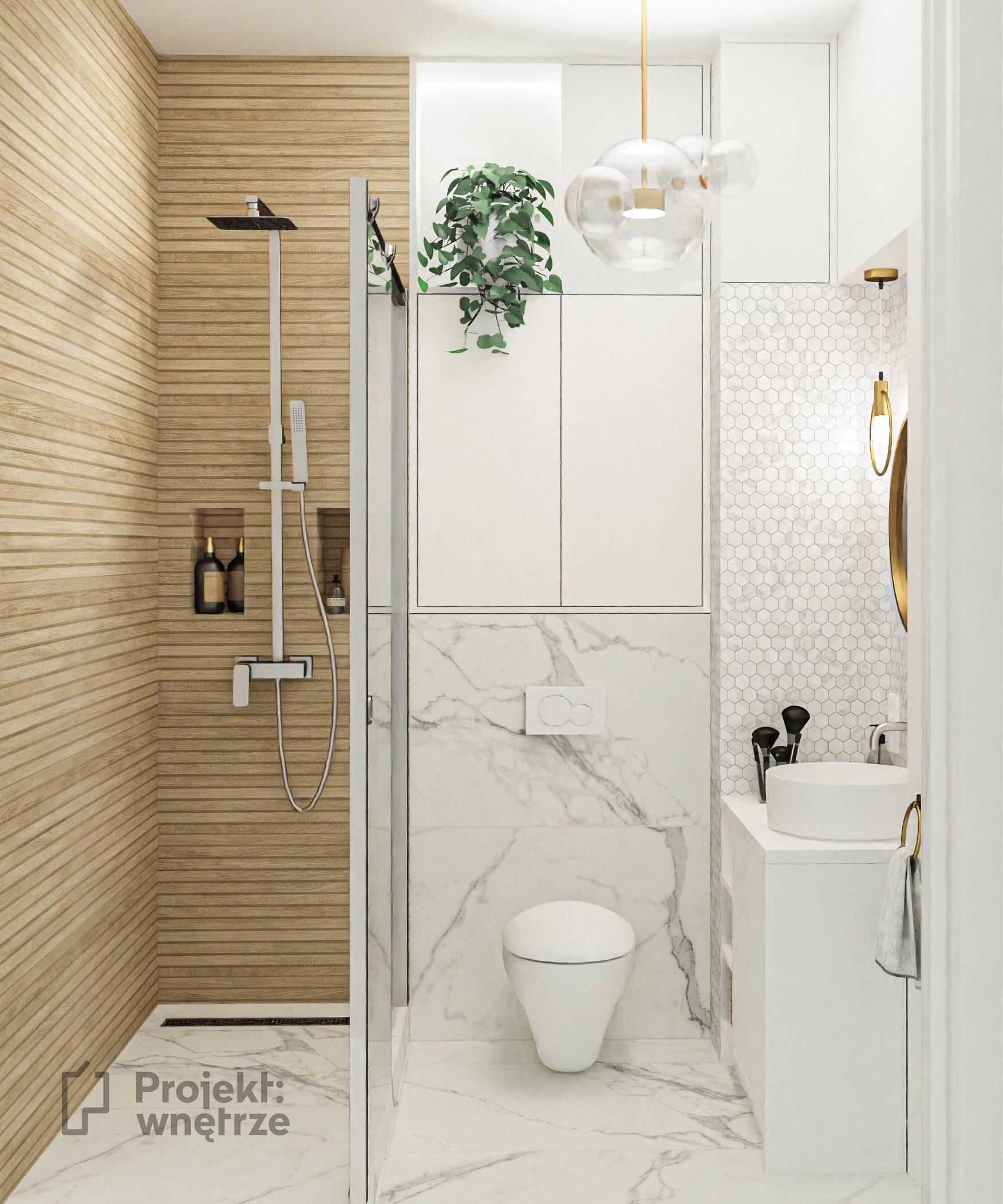 Mała elegancka łazienka marmur heksagon drewniane płytki Venis Starwood lamele okrągłe złote lustro mała umywalka - projekt łazienki PROJEKT WNĘTRZE www.projektwnetrze.com.pl