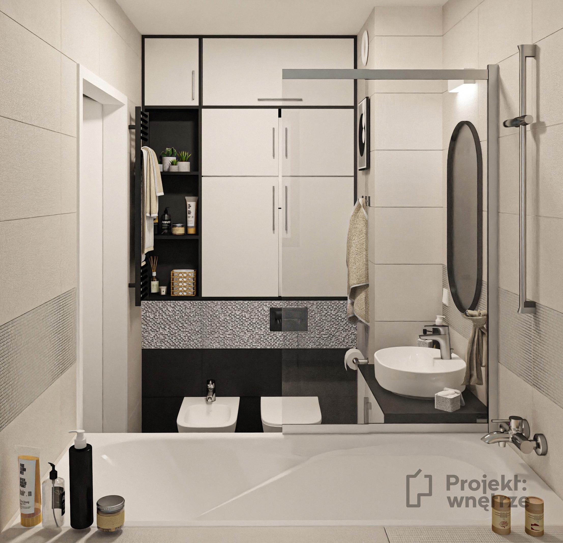 Projekt łazienki owalne lustro beż srebrny dekor czerń - mała łazienka z wanną - Projekt: wnętrze - projekty łazienek Warszawa online