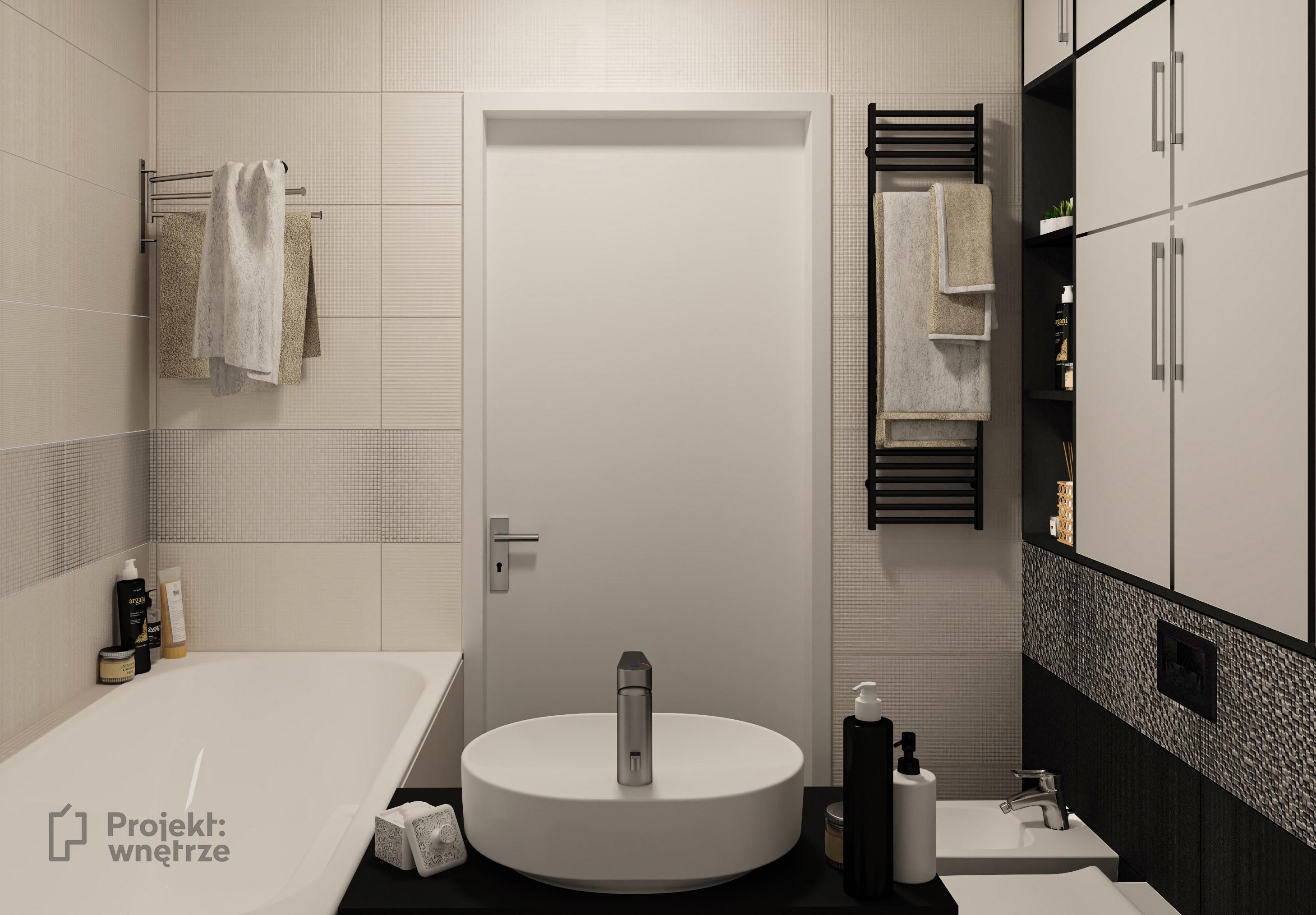 Projekt łazienki beż srebrny dekor czerń - mała łazienka z wanną - Projekt: wnętrze - projekty łazienek Warszawa online