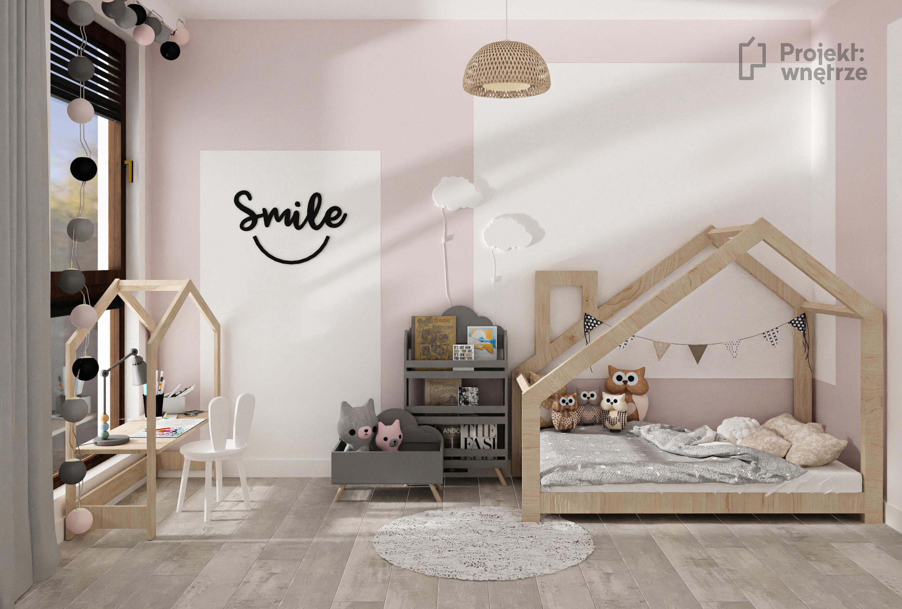 Pokój dla dziewczynki róż szarość biel łóżko domek - projekt pokoju dziecięcego - www.projektwnetrze.com.pl