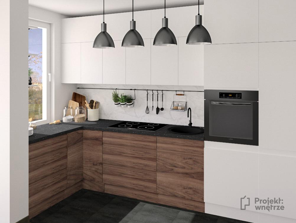 PROJEKT WNĘTRZE aneks biel drewno czerń styl nowoczesny minimalistyczny www.projektwnetrze.com
