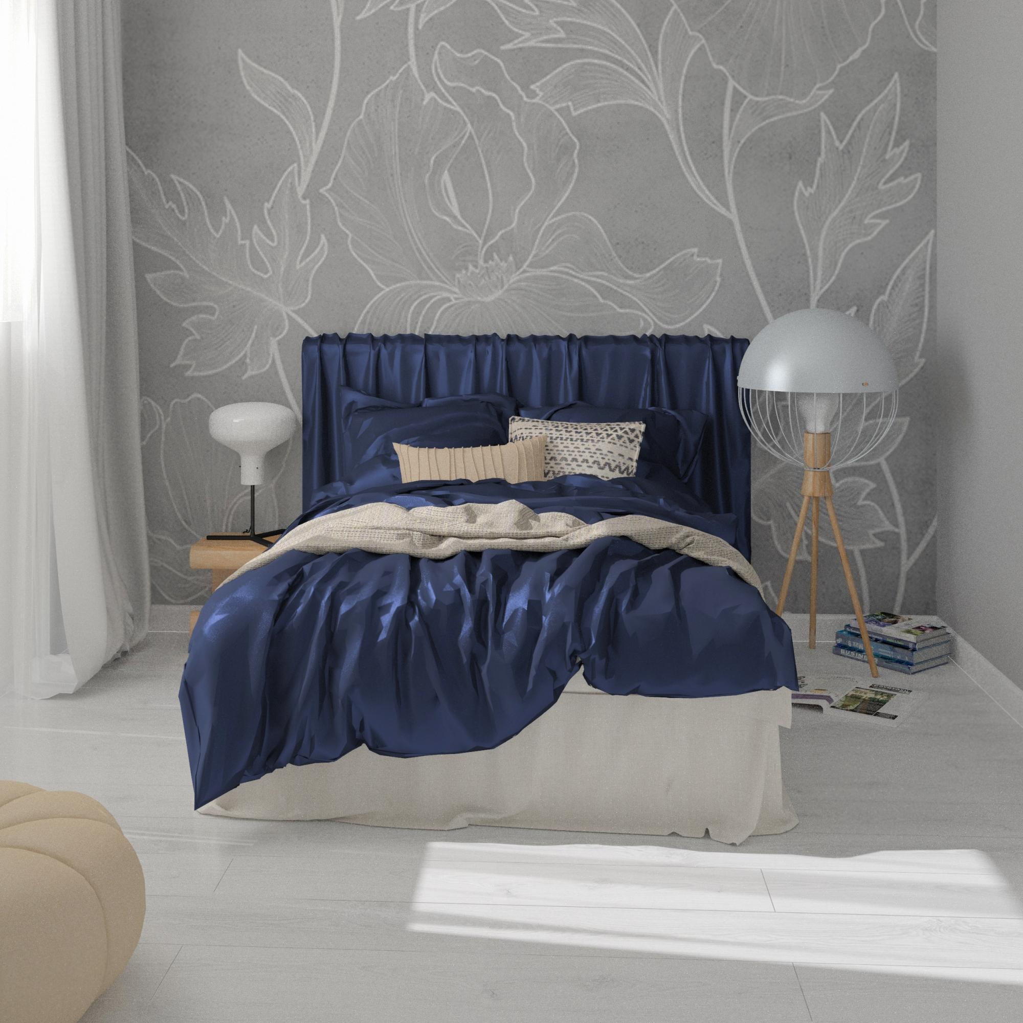 PROJEKT WNETRZE sypialnia z szarą tapetą szafa z lustrem i szprosami, toaletka, Warszawa - www.projektwnetrze.com (1)