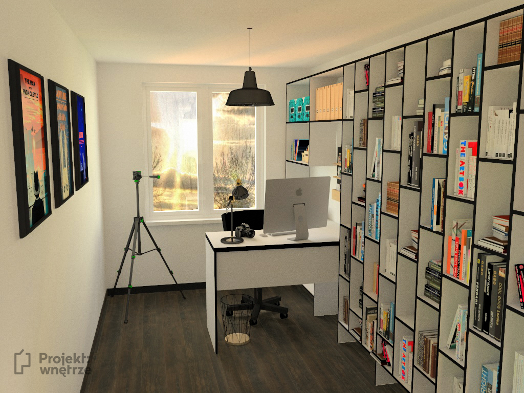 PROJEKT WNĘTRZE projekt mieszkania gabinet biel szarość drewno czerń styl nowoczesny minimalistyczny www.projektwnetrze.com (2)