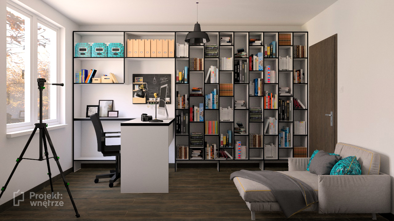 PROJEKT WNĘTRZE projekt mieszkania gabinet biel szarość drewno czerń styl nowoczesny minimalistyczny www.projektwnetrze.com (3)