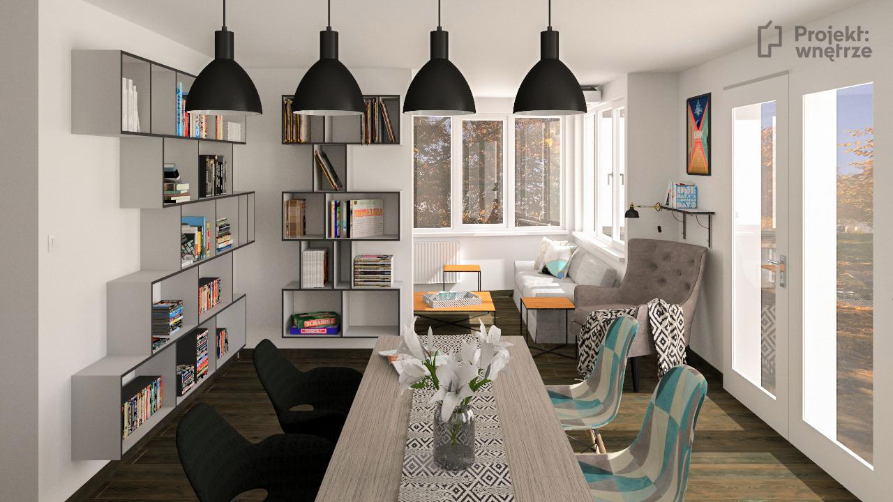 PROJEKT WNĘTRZE projekt salon z aneksem szarość drewno czerń styl nowoczesny minimalistyczny www.projektwnetrze.com (2)