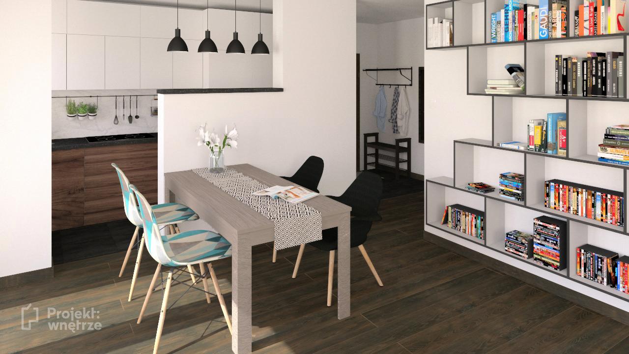PROJEKT WNĘTRZE projekt salon z aneksem szarość drewno czerń styl nowoczesny minimalistyczny www.projektwnetrze.com (3)