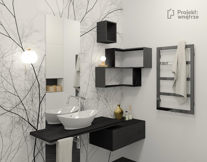 Projekt wnętrze projektowanie łazienek wnętrz Warszawa, łazienka z tapetą biało czarną
