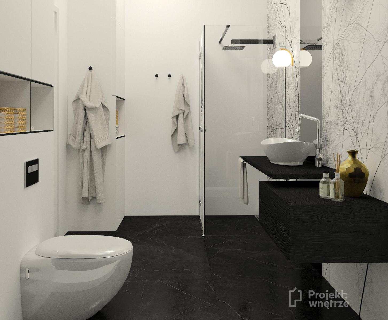 Projekt wnetrze biało czarna łazienka w bloku zabudowa tapeta czarne płytki