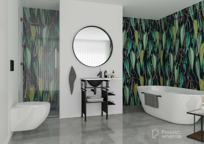 PROJEKT WNETRZE tapeta liście w łazience wzorzysta łazienka - Pracownia projektowania wnętrz Warszawa mazowieckie online (1)