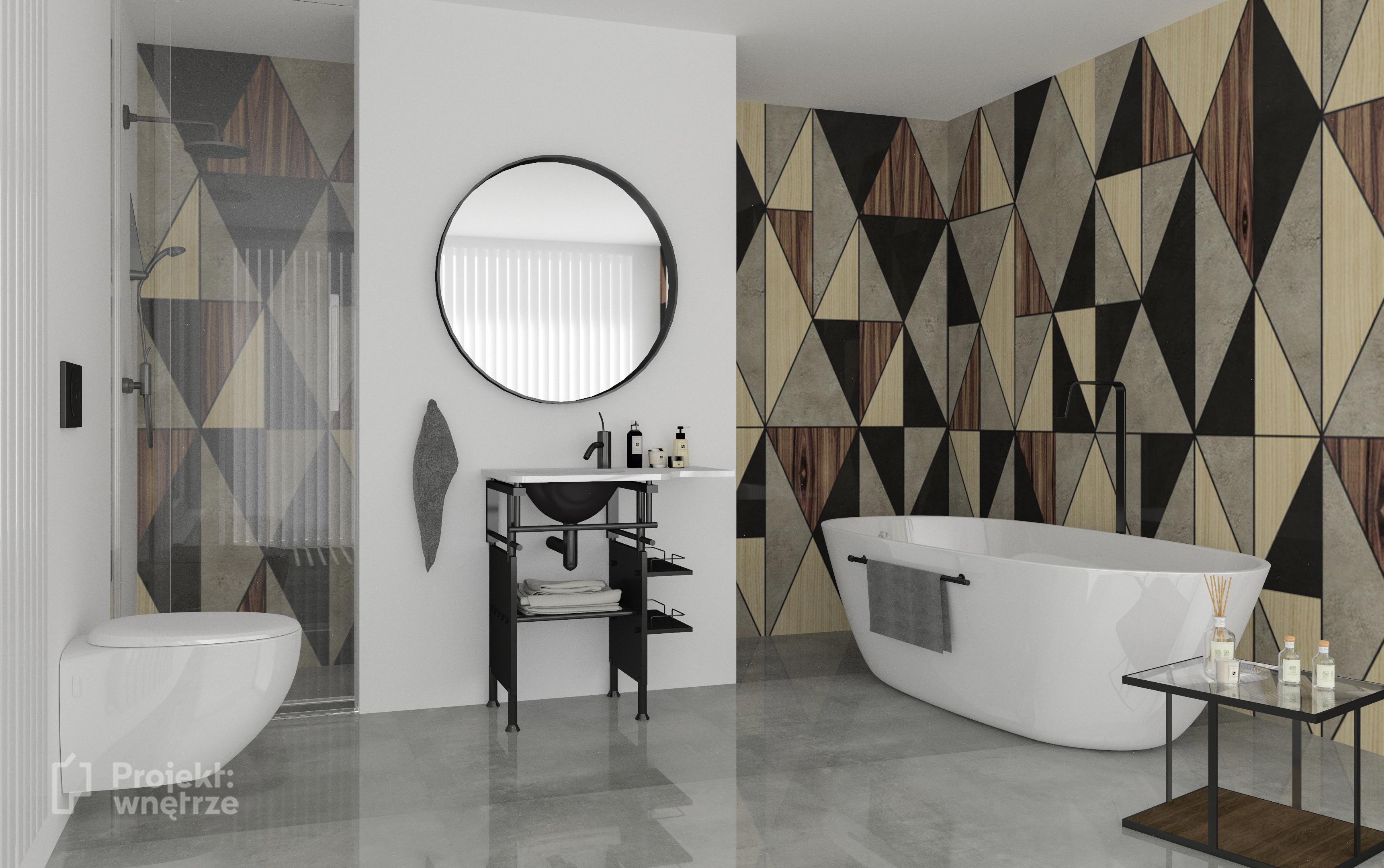 PROJEKT WNETRZE tapeta w łazience heksa trójkąt pomysły inspiracje - wzorzysta łazienka - Pracownia projektowania wnętrz Warszawa mazowieckie online (3)