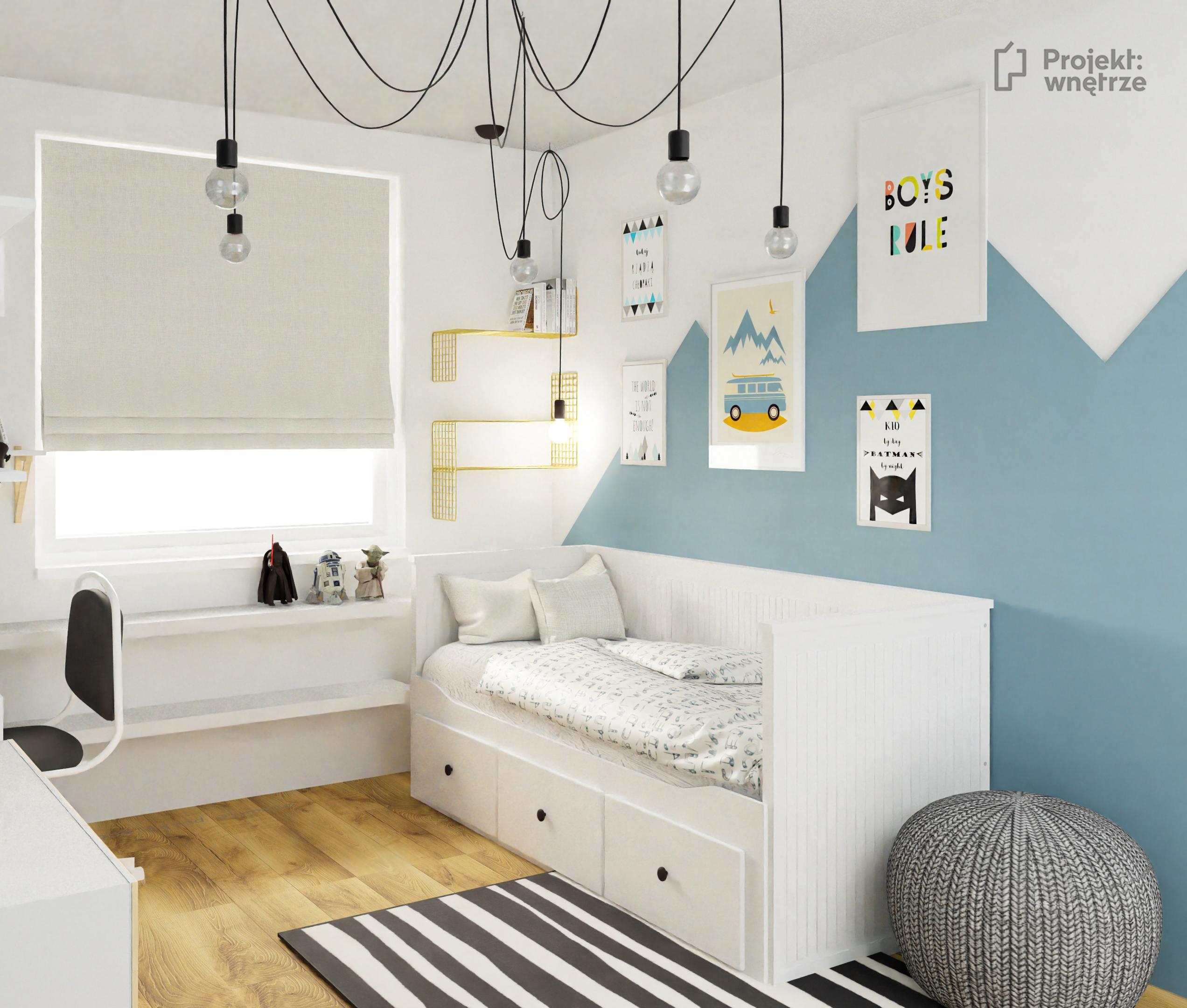 Pokój chłopca błękit góry Ikea Hemnes plakaty - projekt pokoju dziecięcego online Warszawa Projekt: wnętrze www.projektwnetrze.com.pl