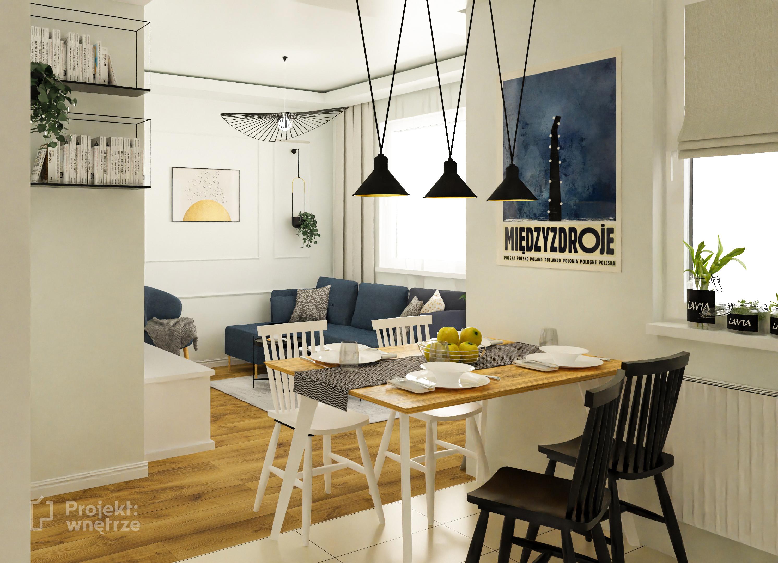 Elegancki salon sztukateria granat złoto biel czerń Ikea www.projektwnetrze.com.pl