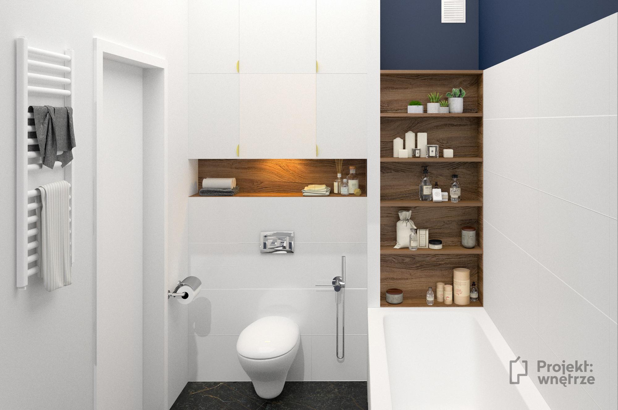 Projekt wnętrze - projekt łazienka granat biel i drewno + złote akcenty - projektowanie wnętrze Warszawa - www.projektwnetrze.com.pl