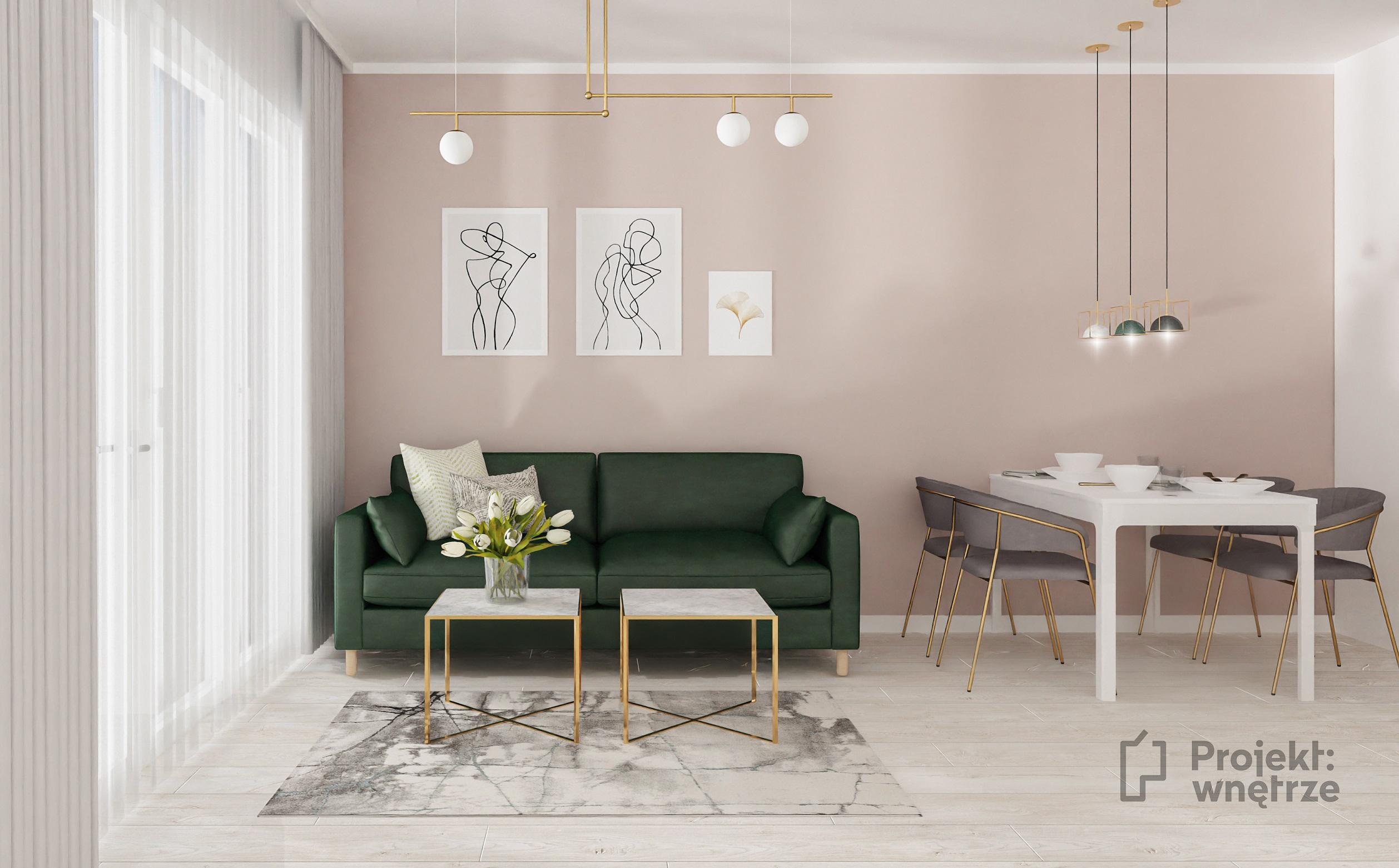 Różowa ściana, zielona kanapa, złote akcenty i szarość - projekt kobiecego mieszkania PROJEKT WNĘTRZE www.projektwnetrze.com.pl