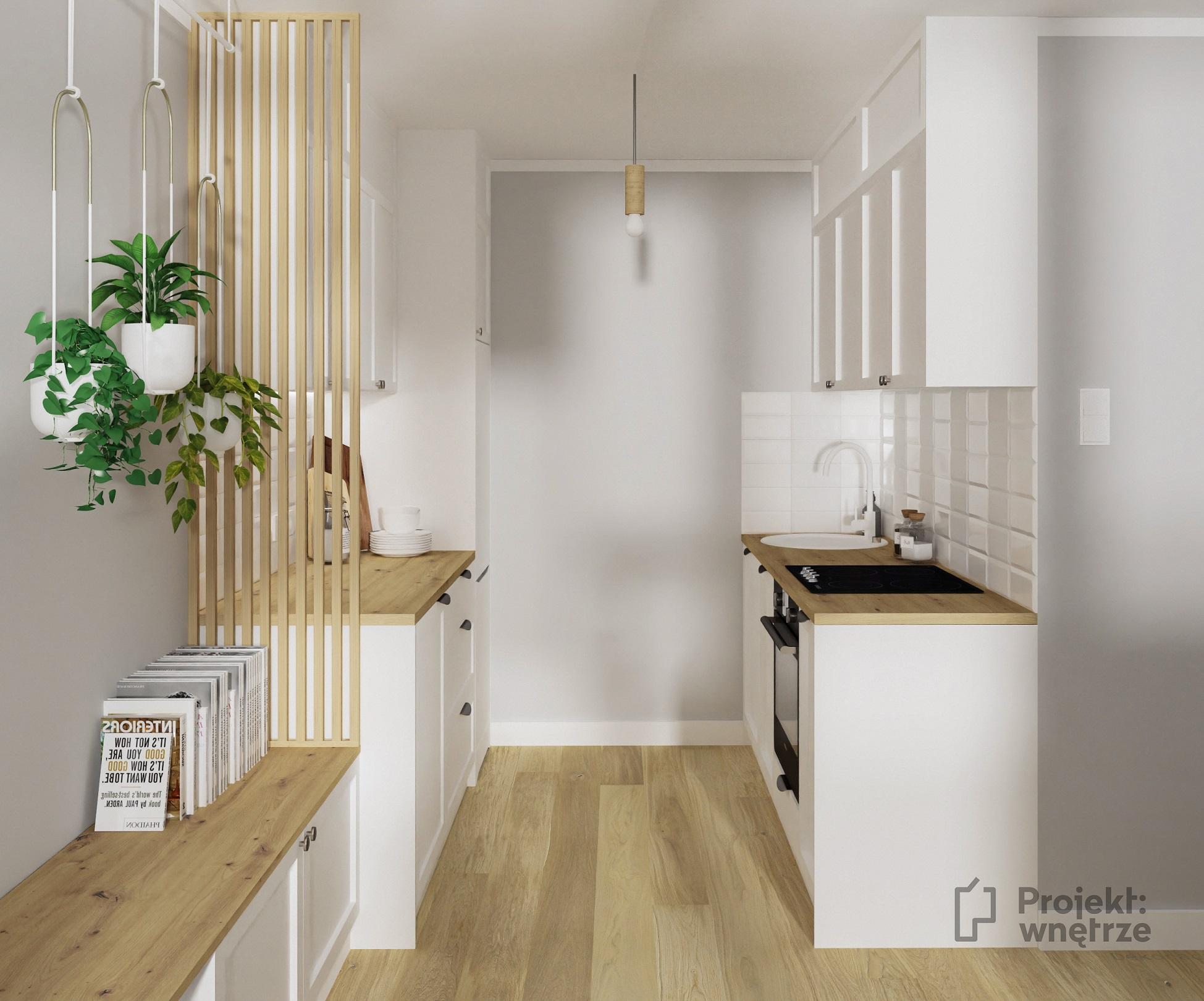 Projekt wnętrze projekt małego mieszkania w neutralnych odcieniach szarości biel drewno. Lamele w salonie. Mały salon z aneksem kuchennym i miejscem do pracy - projektowanie wnętrz warszawa online - www.projektwnetrze.com.pl