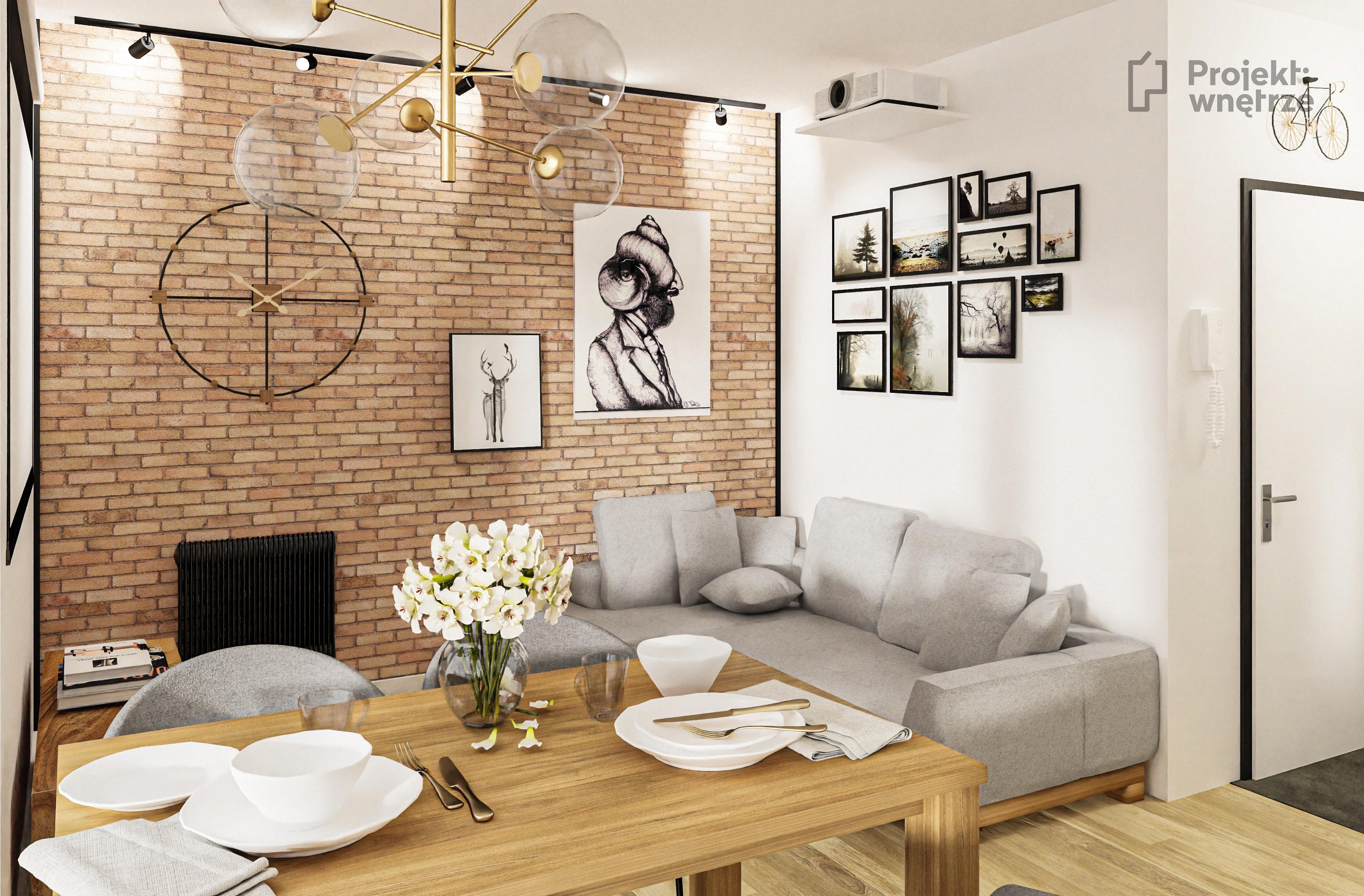 Mieszkanie soft loft salon korytarz - projekt mieszkania Projekt: wnętrze www.projektwnetrze.com.pl