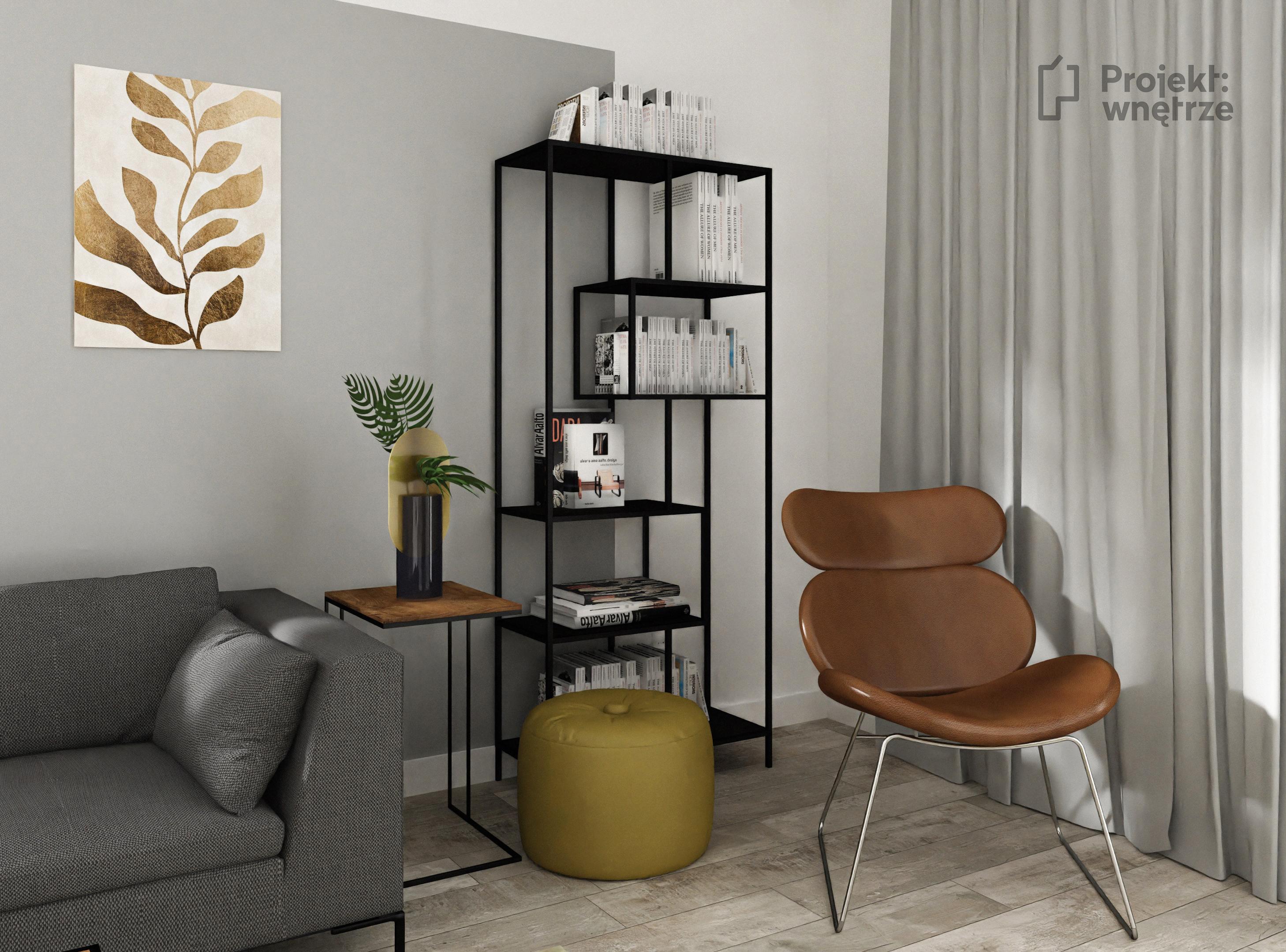 Salon nowoczesne mieszkanie z kolorem - biel czerń żółty musztardowy - PROJEKT: WNĘTRZE projektowanie wnętrz Warszawa okolice online www.projektwnetrze.com.pl