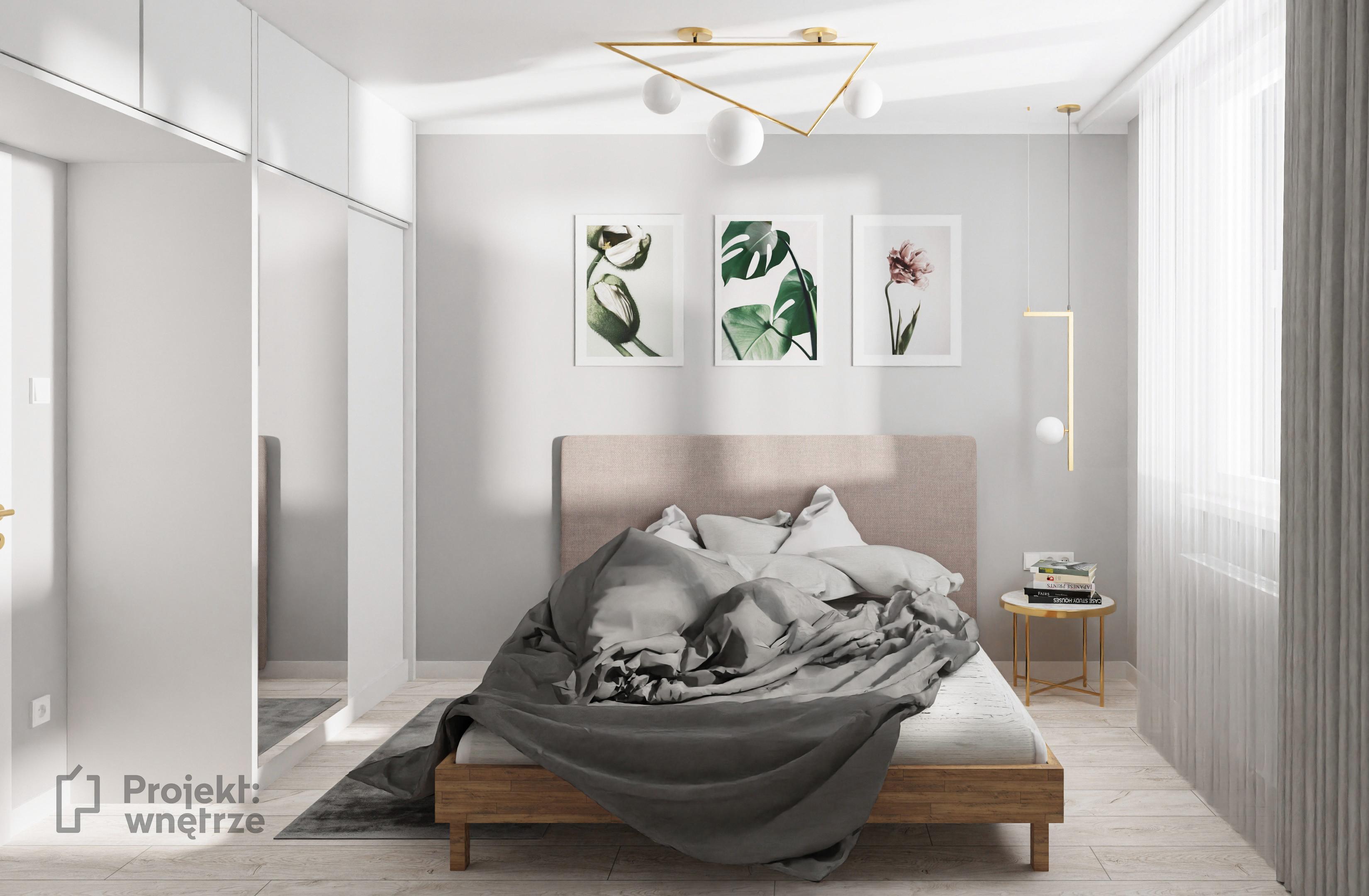 Sypialnia pudrowy róż ciemna zieleń złote akcenty białe meble - projekt sypialni w mieszkaniu w Ożarowie - PROJEKT WNĘTRZE www.projektwnetrze.com.pl