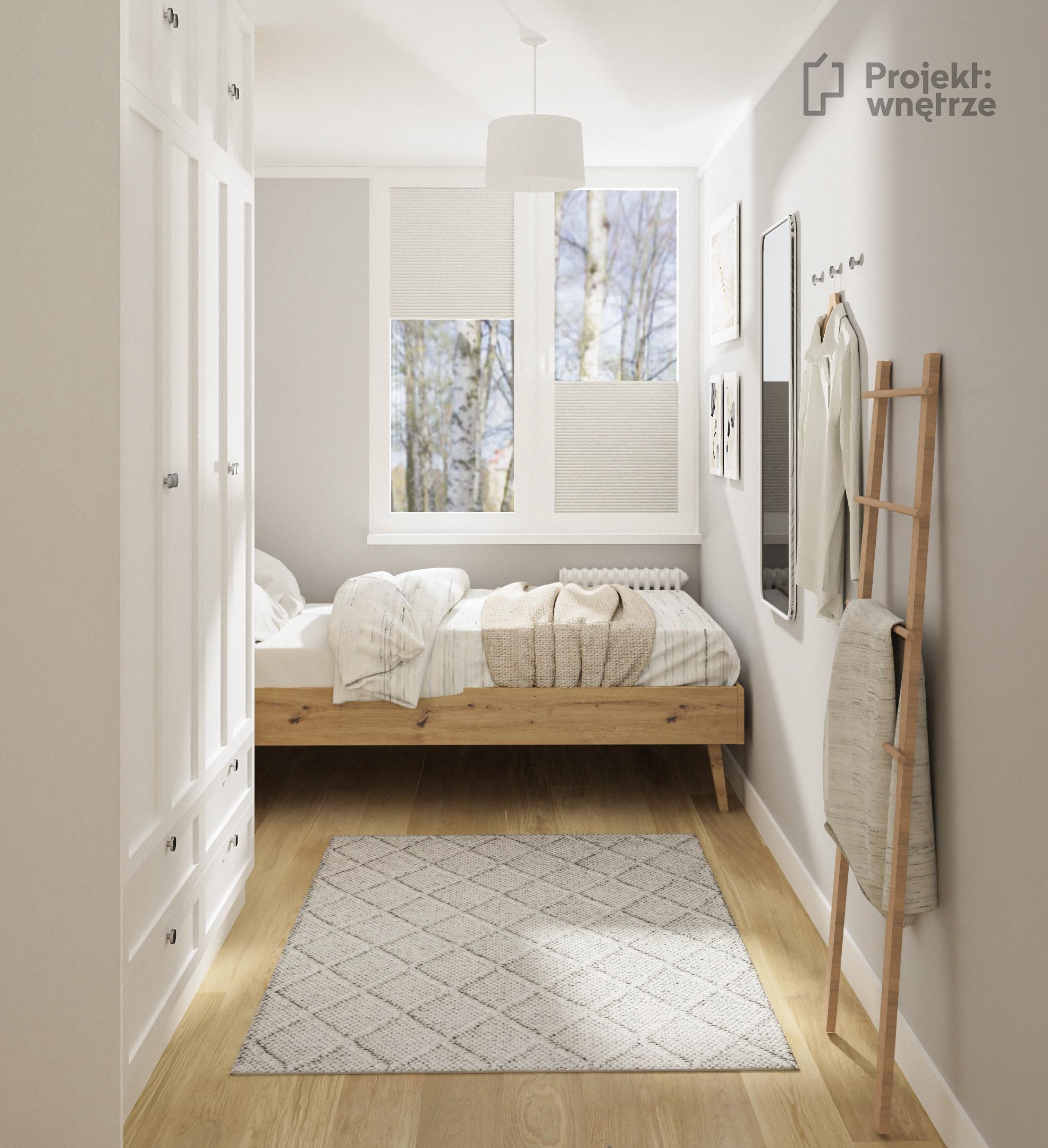 Mała sypialnia drewno biel szarość łóżko VOX nature Projekt wnętrze projekt małego mieszkania w neutralnych odcieniach szarości biel drewno.- projektowanie wnętrz warszawa online - www.projektwnetrze.com.pl