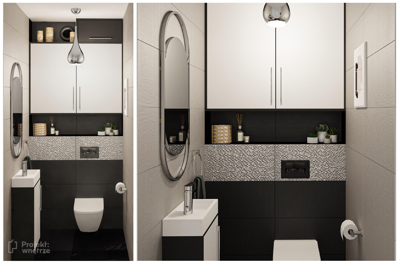 Projekt WC owalne lustro beż srebrny dekor czerń - mała łazienka z wanną - Projekt: wnętrze - projekty łazienek Warszawa online
