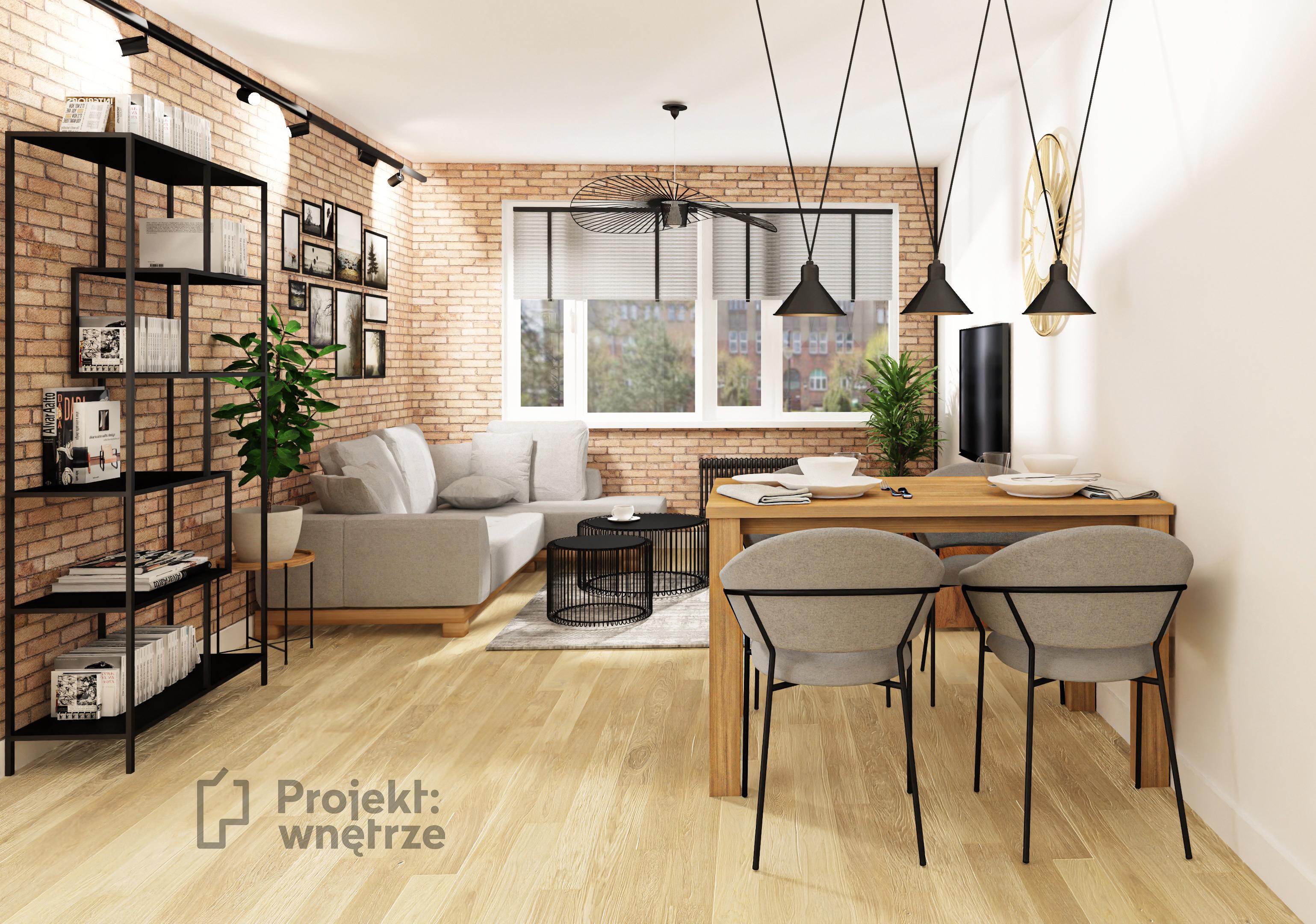 Kawalerka loft - małe mieszkanie cegła szarość czerń - salon z aneksem - PROJEKT: WNĘTRZE www.projektwnetrze.com.pl