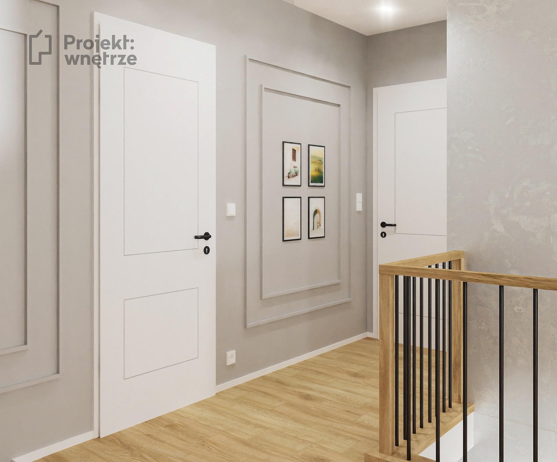 PROJEKT WNĘTRZE korytarz i klatka schodowa szarość sztukateria biel drewno balustrada czarne pręty drewno dąb, tynk Jeger Velvet Alice - projektowanie wnętrz Warszawa