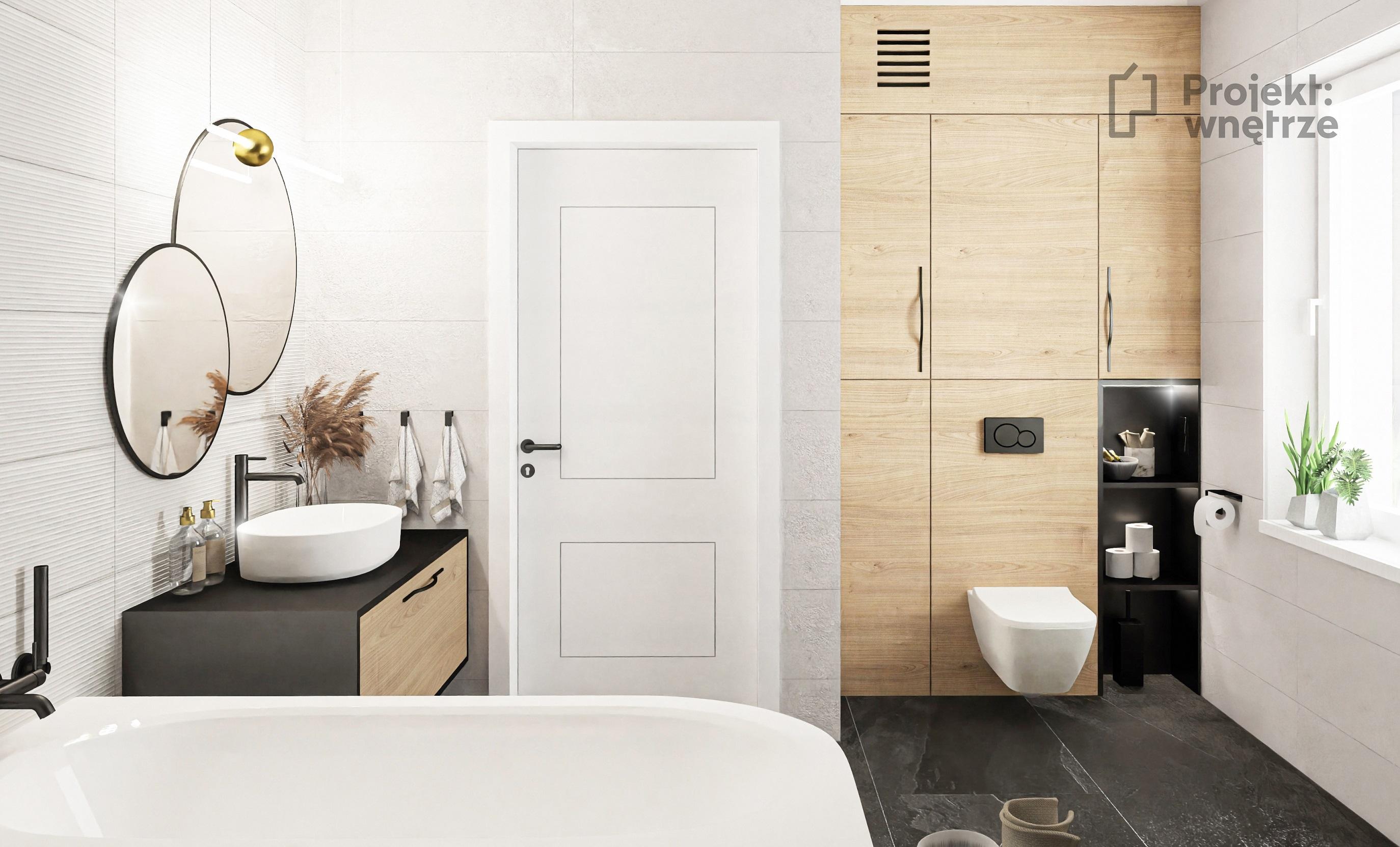 PROJEKT WNĘTRZE projekt łazienki płytki 3D Kaflando GLAZURA LARCHWOOD ALDER 90×30 PULSE PEARL MSH 90×30 drewno lamelki czerń panele Moduleo lustra okrągłe czarny prysznic listwy LED obok wanny - projektowanie wnętrz