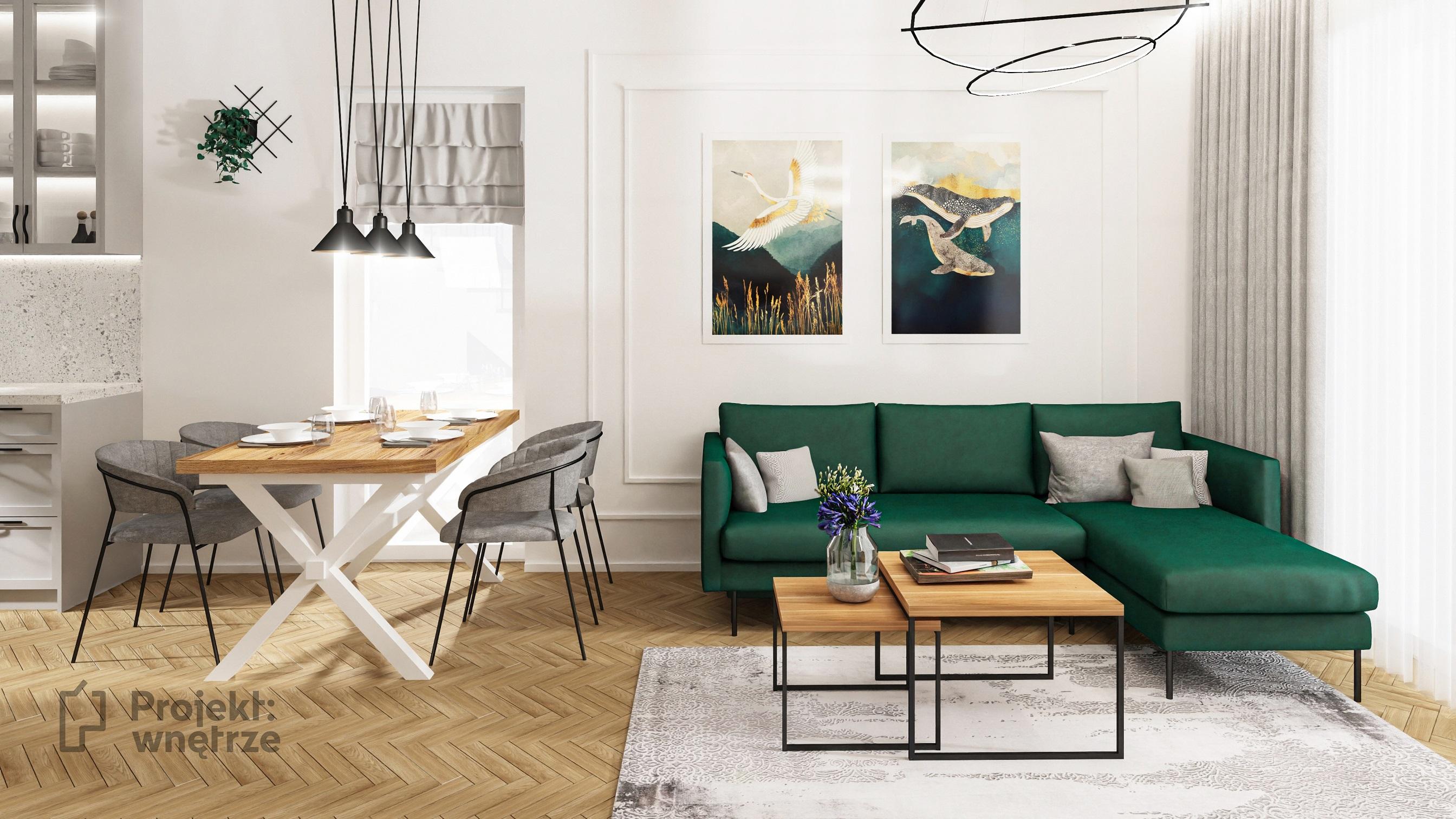 PROJEKT WNĘTRZE projekt nowoczesnego domu - jasny salon z kuchnią - szarość drewno biel zieleń tapety tynk dekoracyjny schody z balustradą do sufitu harfa
