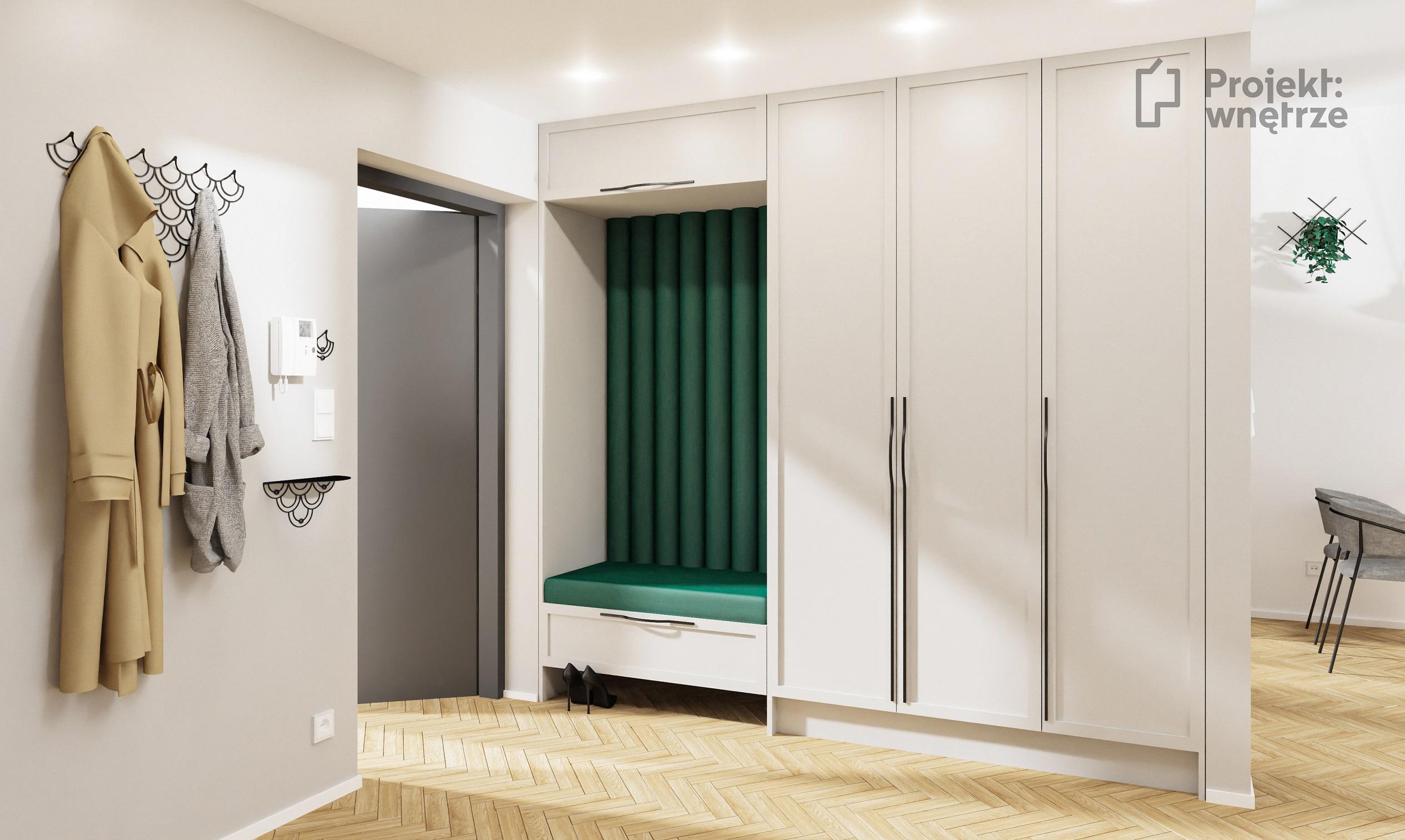 PROJEKT WNĘTRZE projekt nowoczesnego domu - jasny salon z kuchnią - szarość drewno biel zieleń tapety tynk dekoracyjny schody z balustradą do sufitu harfa (12)