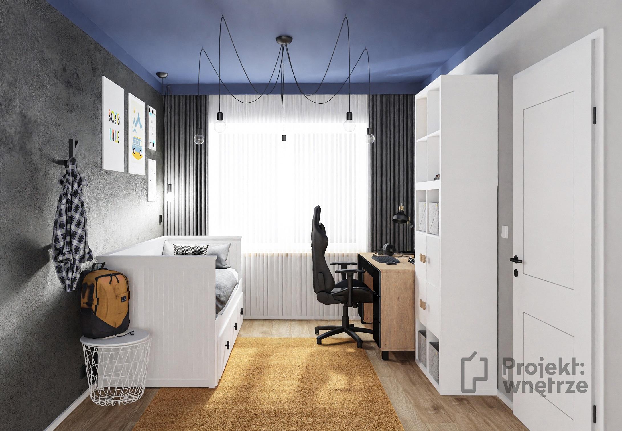Projekt wnętrze - projekt pokoju dla chłopca nastolatka błękit granat szarość drewno czerń ciemny sufit, Jeger Onyks Ikea biurko VOX uchwyt krzyżyk
