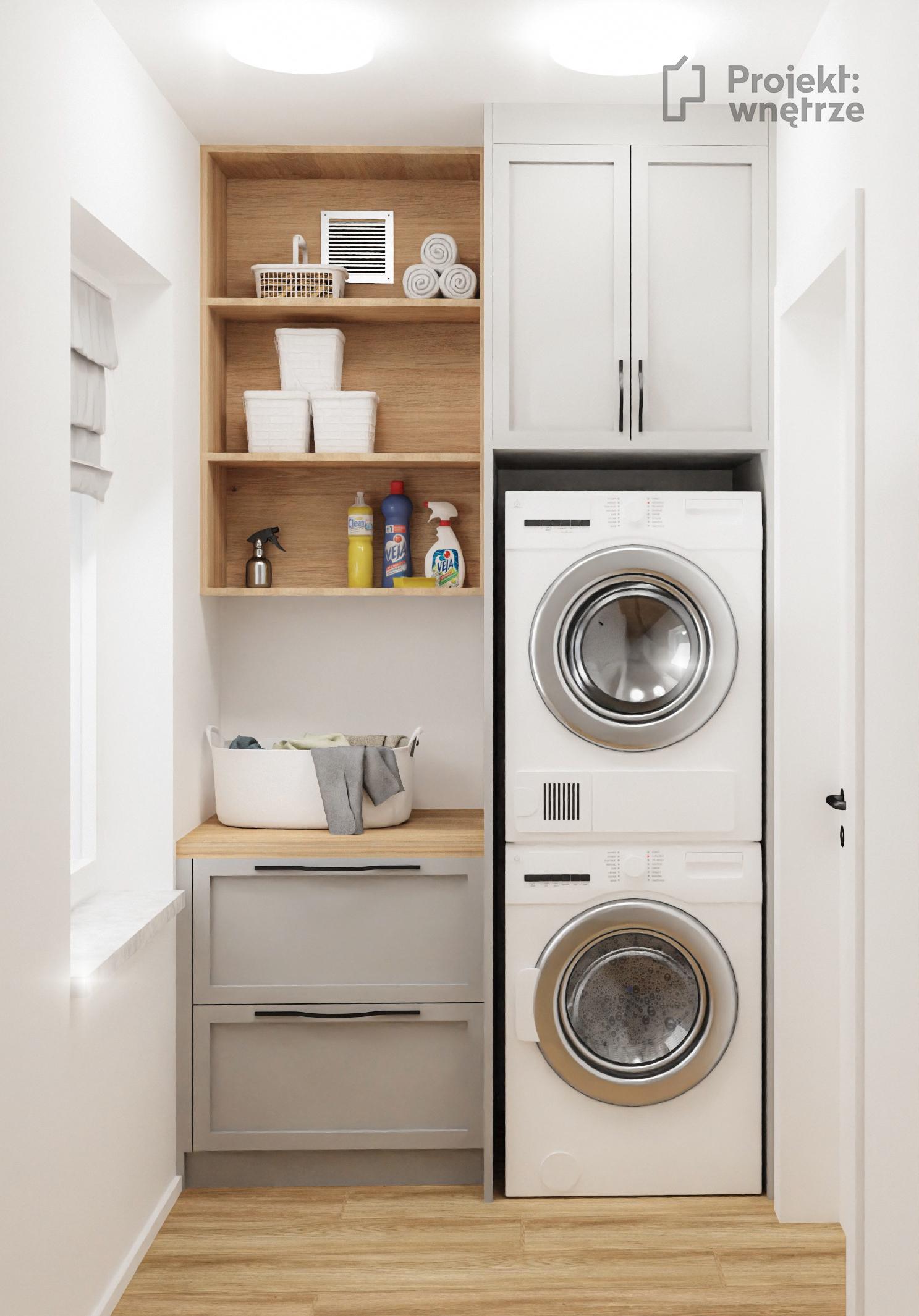 Projekt wnętrze - projekt pralni w domu - Arcana Miscela-R Nacar - płytka lastryko 80 x 80 szarość drewno dąb - zabudowa pralki i suszarki, kosze na bieliznę, umywalka - Projektowanie wnętrz Warszawa online