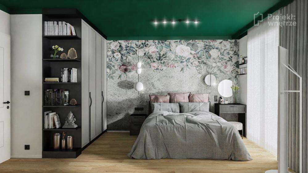 Projekt wnętrze projekt sypialni zieleń szarość drewno czerń tapeta sztukateria toaletka Ikea Zfabryki - projektowanie wnętrz online Warszawa