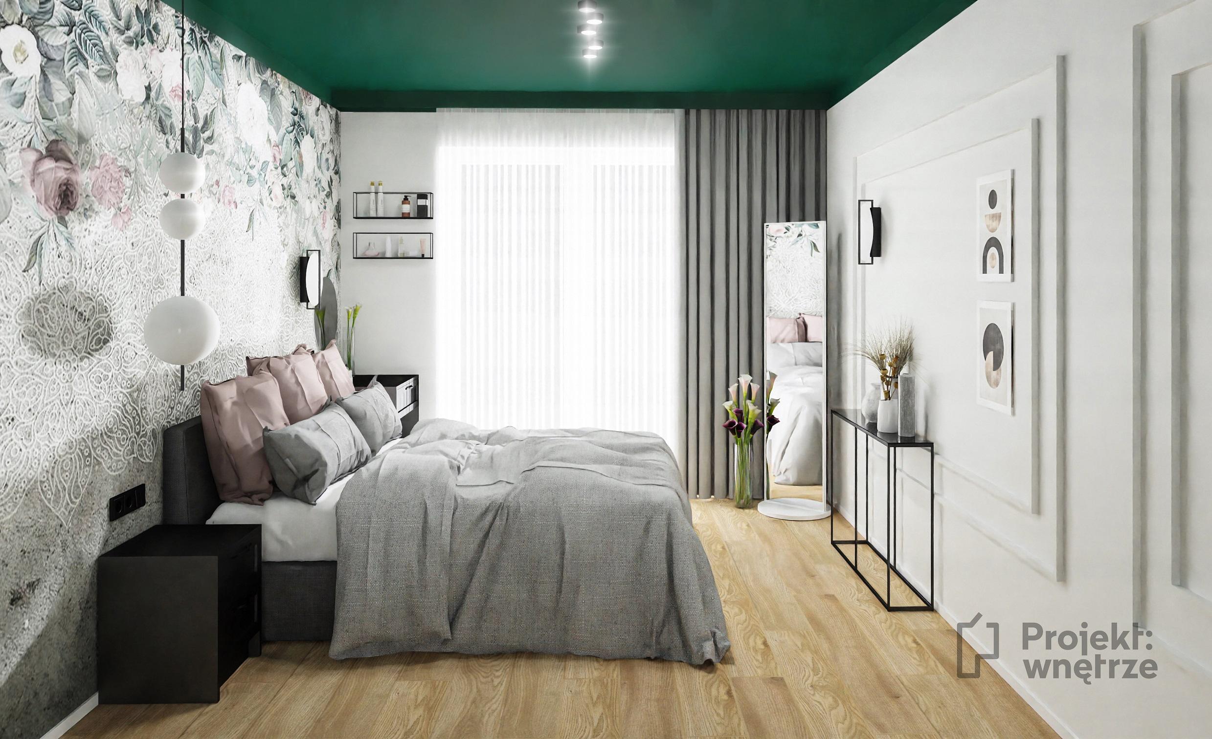 PROJEKT WNĘTRZE - Projekt sypialni w ciemnej zieleni, z tapetą i sztukaterią