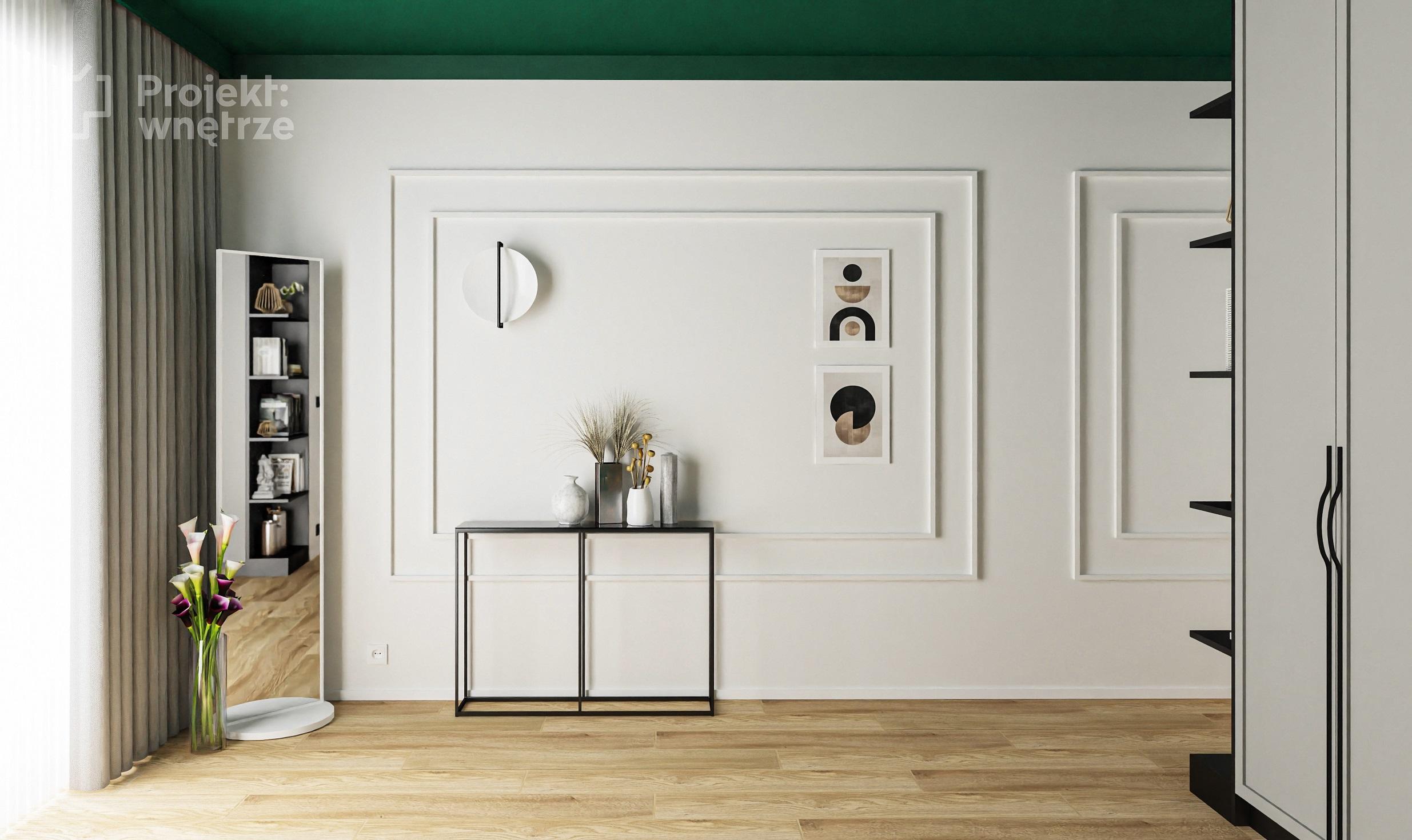 Projekt wnętrze projekt sypialni zieleń szarość drewno czerń tapeta sztukateria toaletka Ikea Zfabryki - projektowanie wnętrz online Warszawa (4)