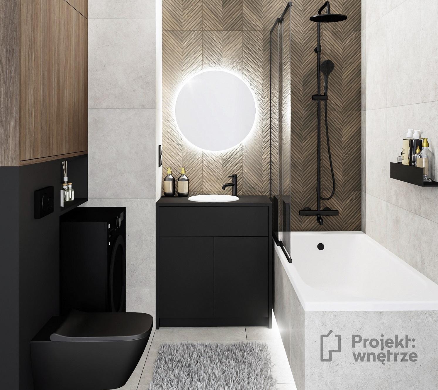Projekt wnętrze łazienka w stylu loft ciemne płytki zabudowa czarne WC Paradyż Afternoon Brown Tubądzin Aulla Graphite okrągłe lustro LED parawan nawannowy (1)