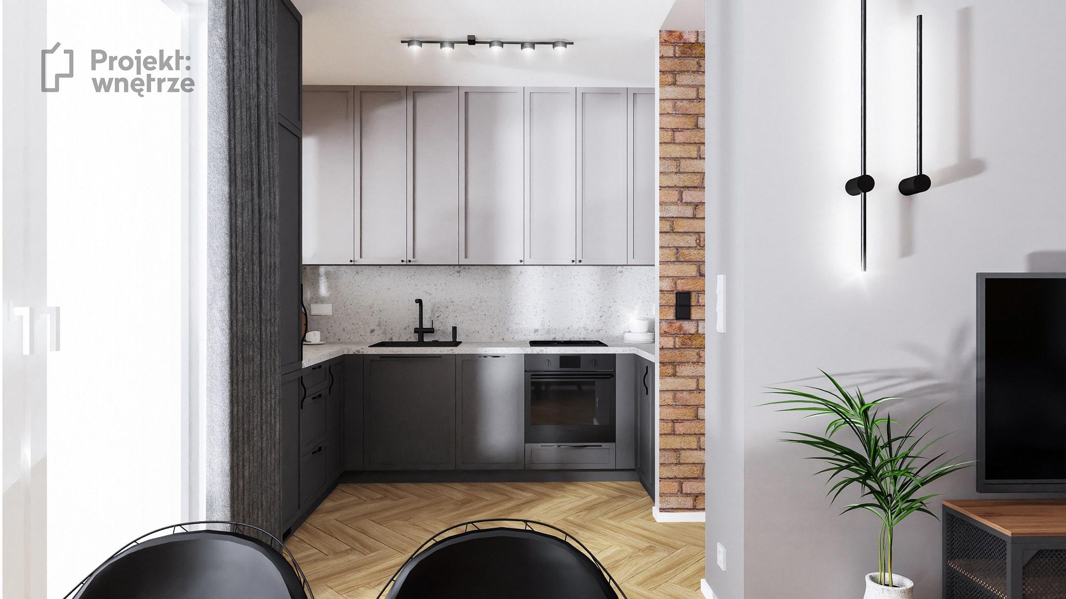 Projekt wnętrze mieszkanie w stylu loft aneks kuchenny szarość cegła lastryko terazzo panele winylowe jodełka - projektowanie wnętrz Warszawa onlina (1)