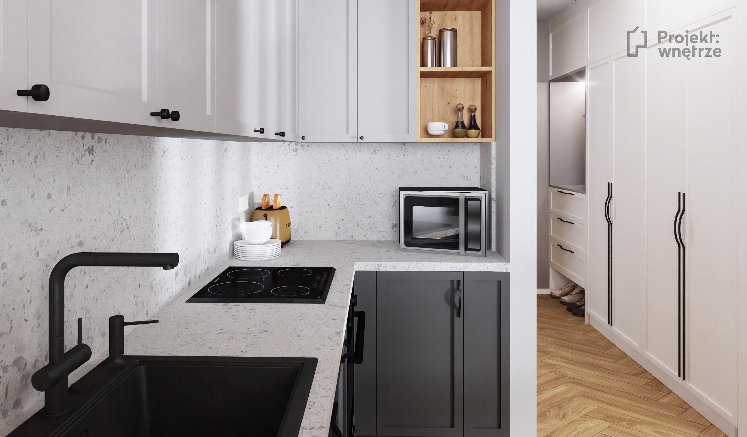 Projekt wnętrze mieszkanie w stylu loft aneks kuchenny szarość cegła lastryko terazzo panele winylowe jodełka - projektowanie wnętrz Warszawa onlina (2)