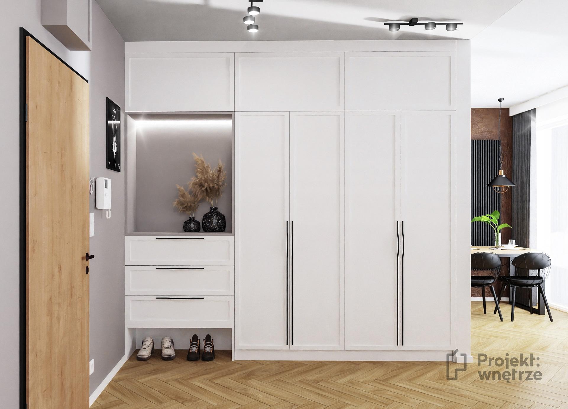 Projekt wnętrze mieszkanie w stylu loft korytarz hol cegła lustro loft biała wysoka zabudowa panele winylowe jodełka (1)