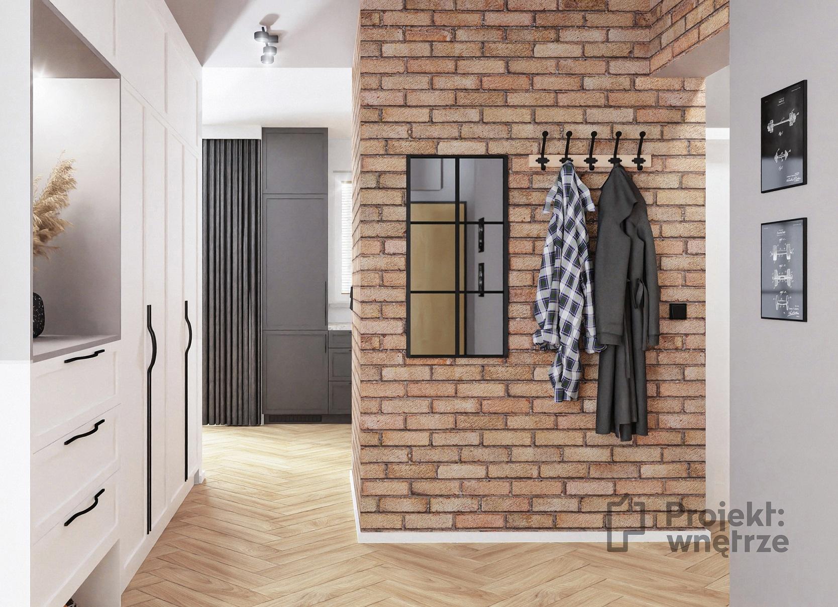 Projekt wnętrze mieszkanie w stylu loft korytarz hol cegła lustro loft biała wysoka zabudowa panele winylowe jodełka (2)